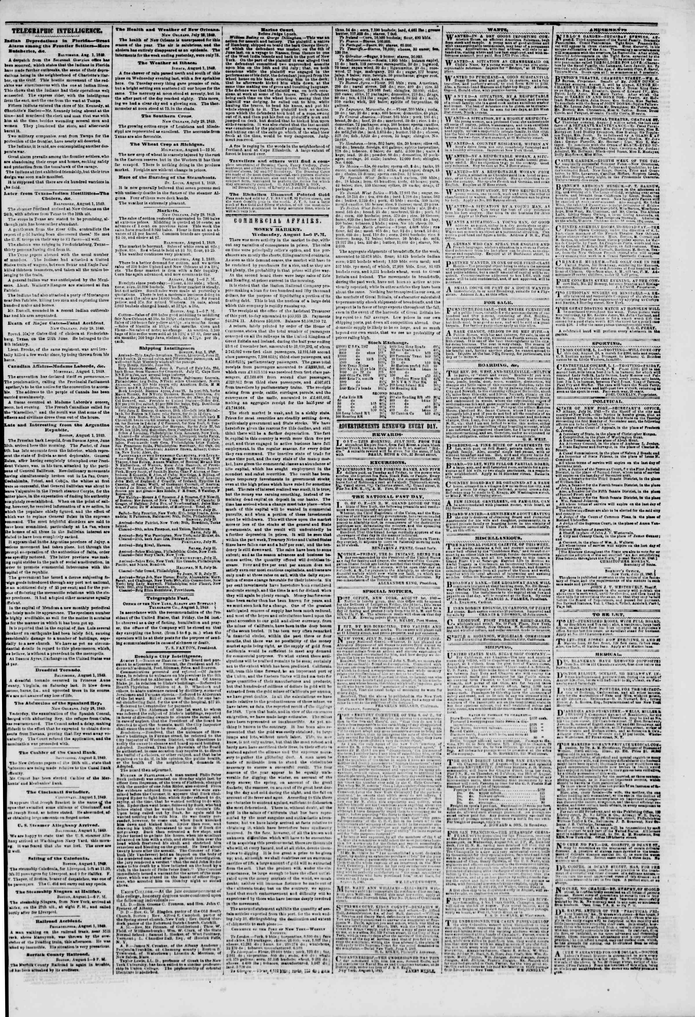 Newspaper of The New York Herald dated August 2, 1849 Page 3
