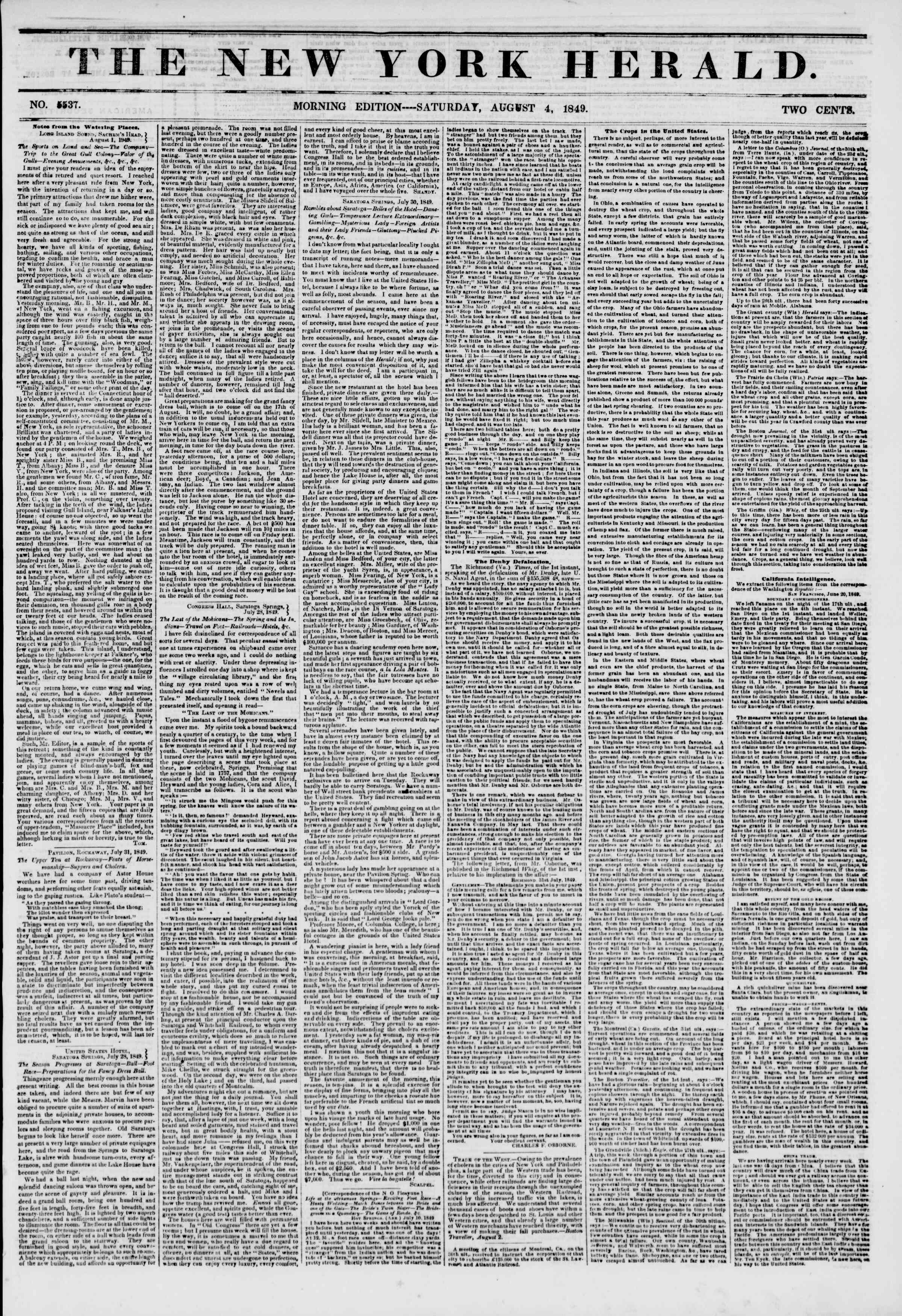 Newspaper of The New York Herald dated August 4, 1849 Page 1