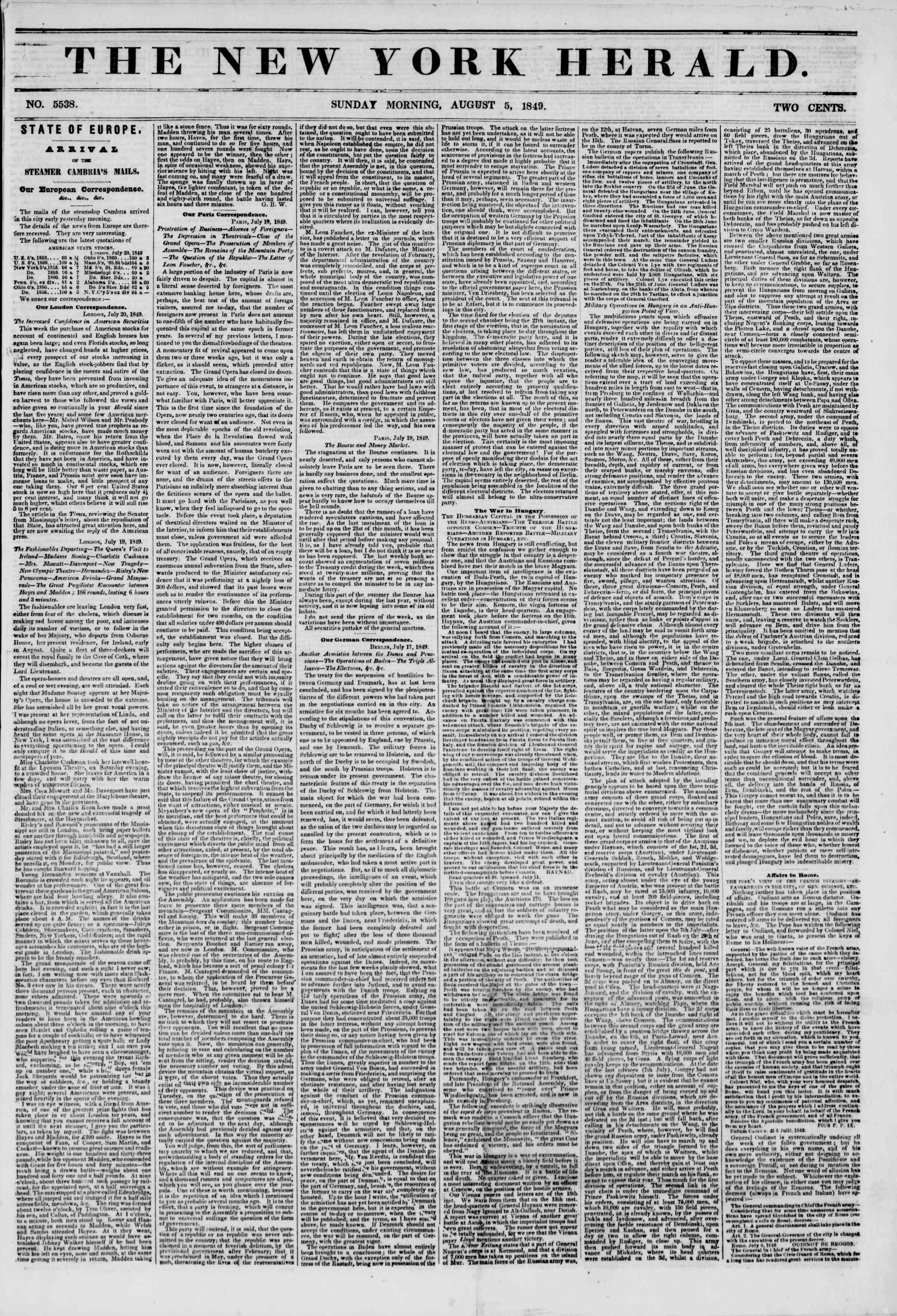 Newspaper of The New York Herald dated August 5, 1849 Page 1