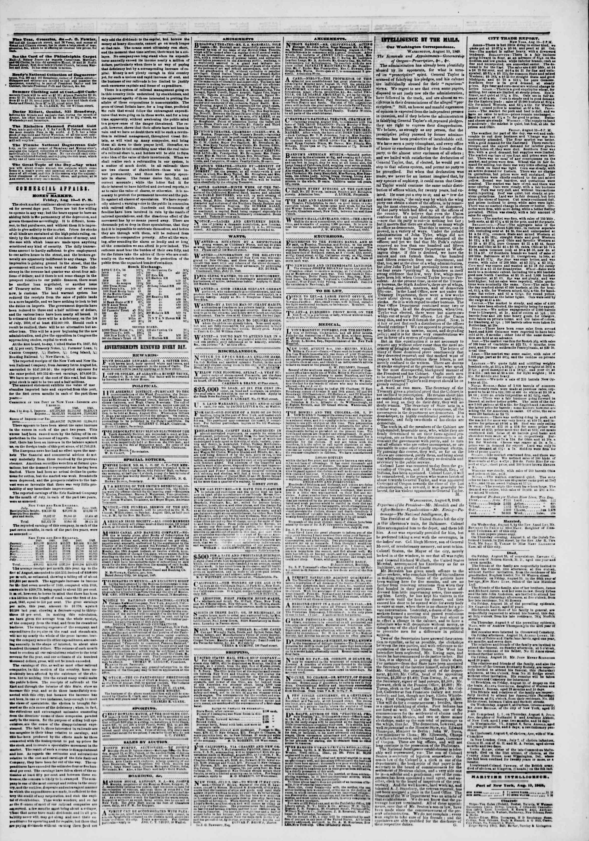 Newspaper of The New York Herald dated August 11, 1849 Page 3