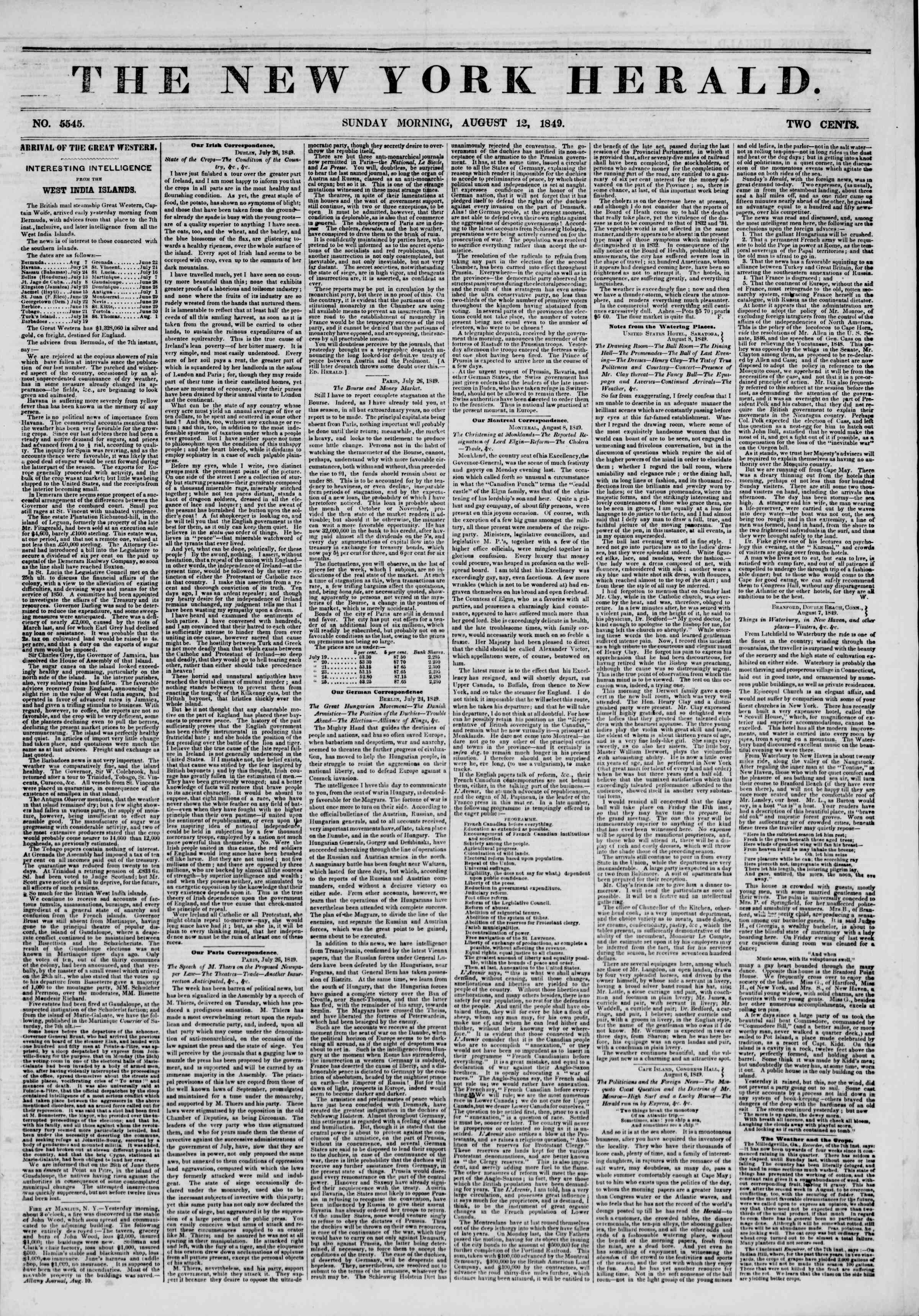 Newspaper of The New York Herald dated August 12, 1849 Page 1