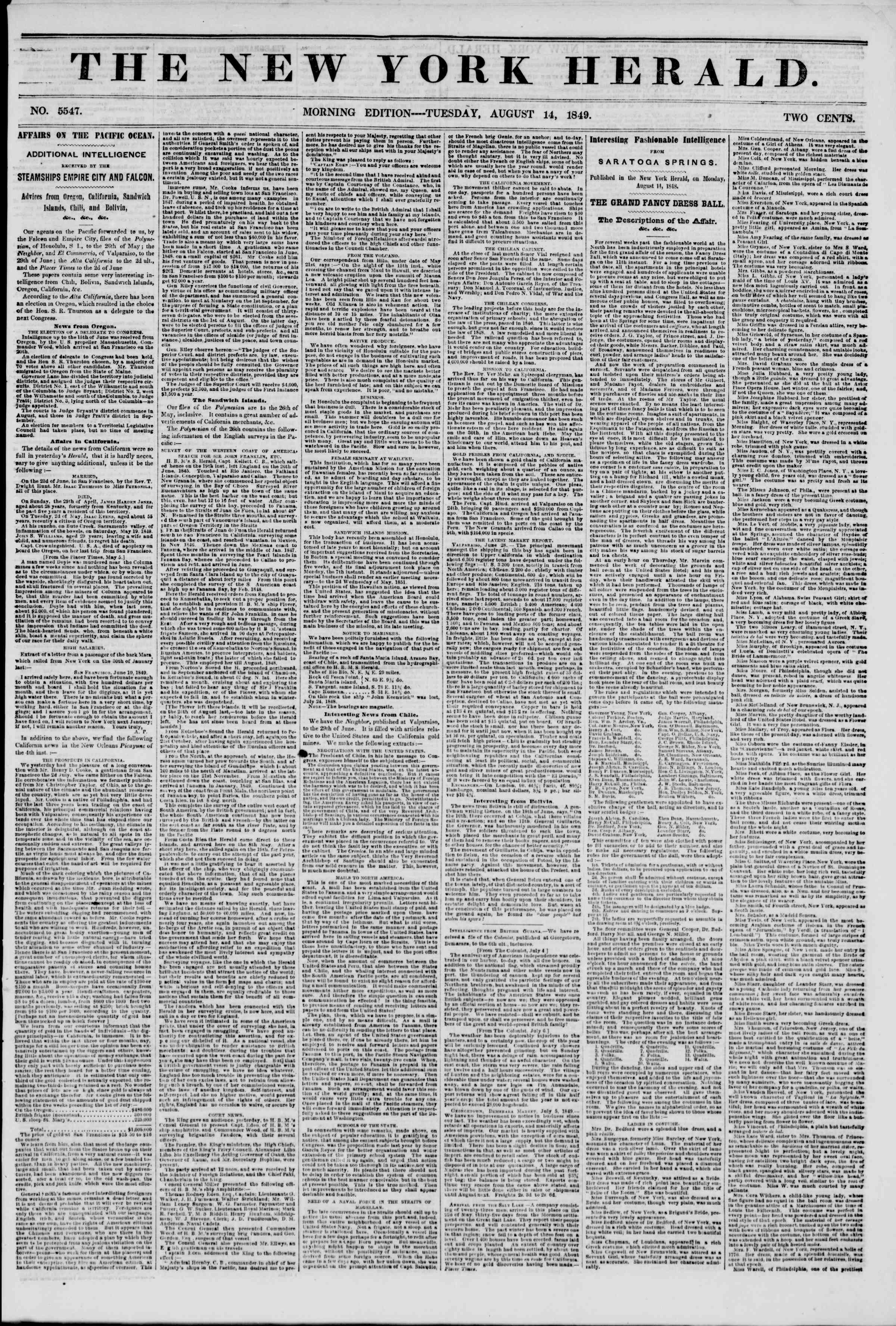 Newspaper of The New York Herald dated August 14, 1849 Page 1