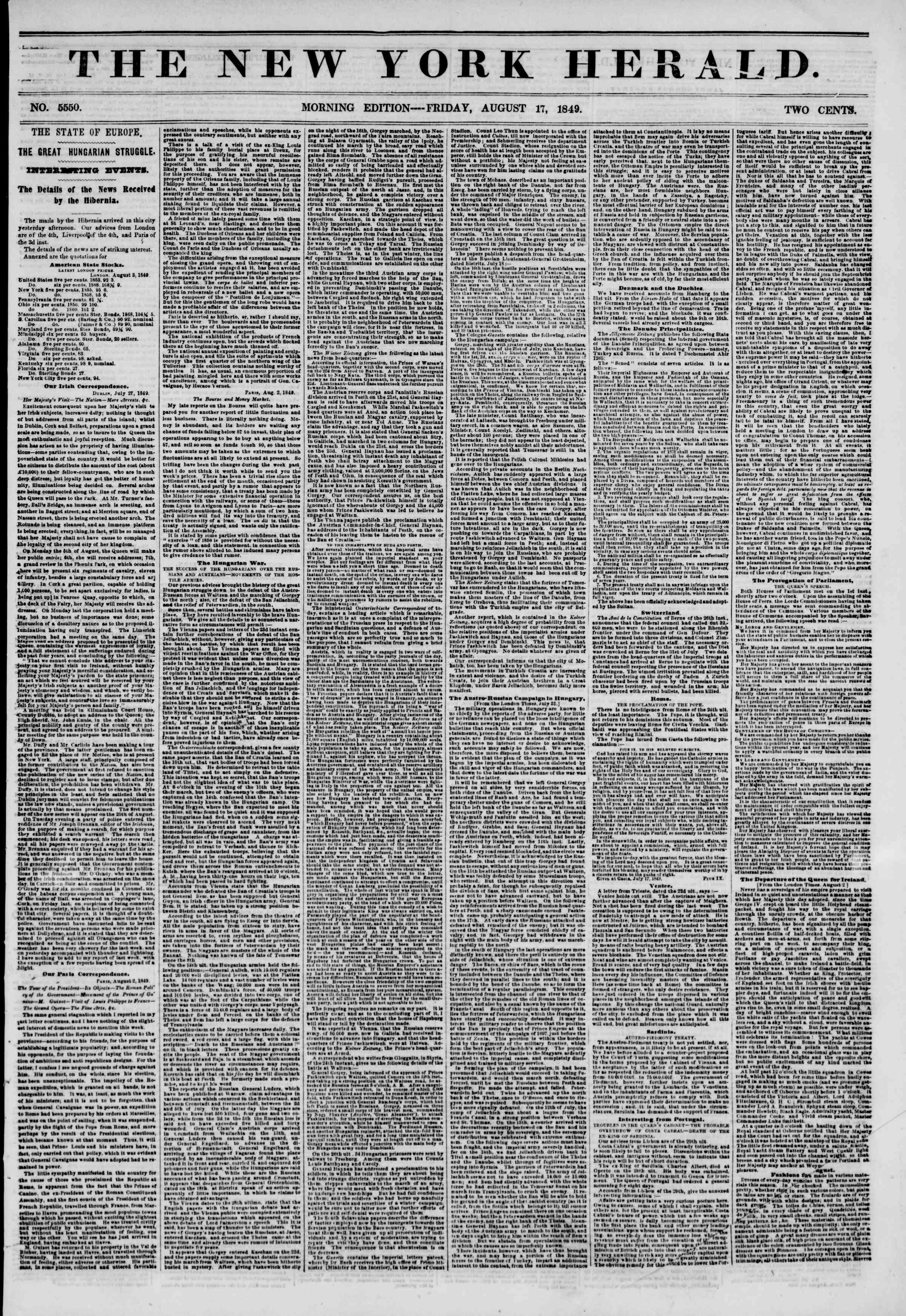 Newspaper of The New York Herald dated August 17, 1849 Page 1