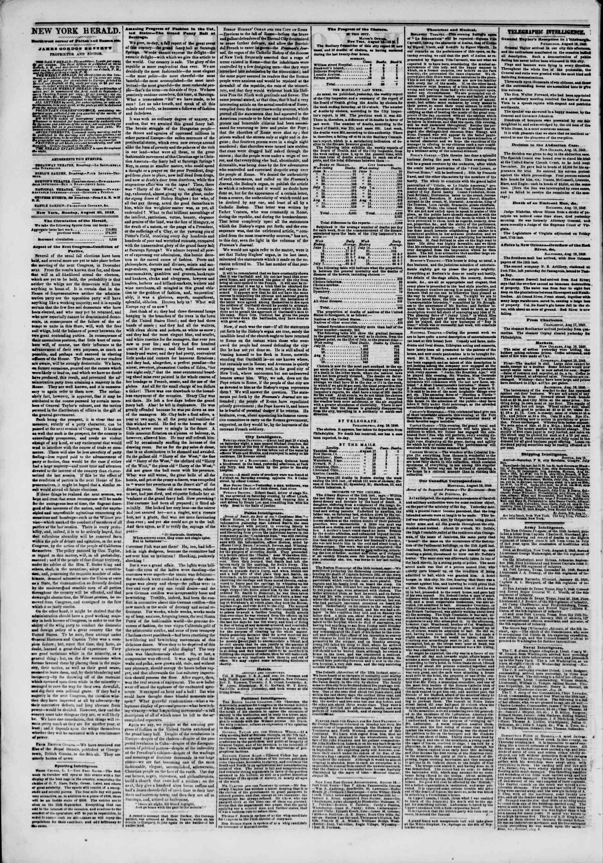 Newspaper of The New York Herald dated August 20, 1849 Page 2