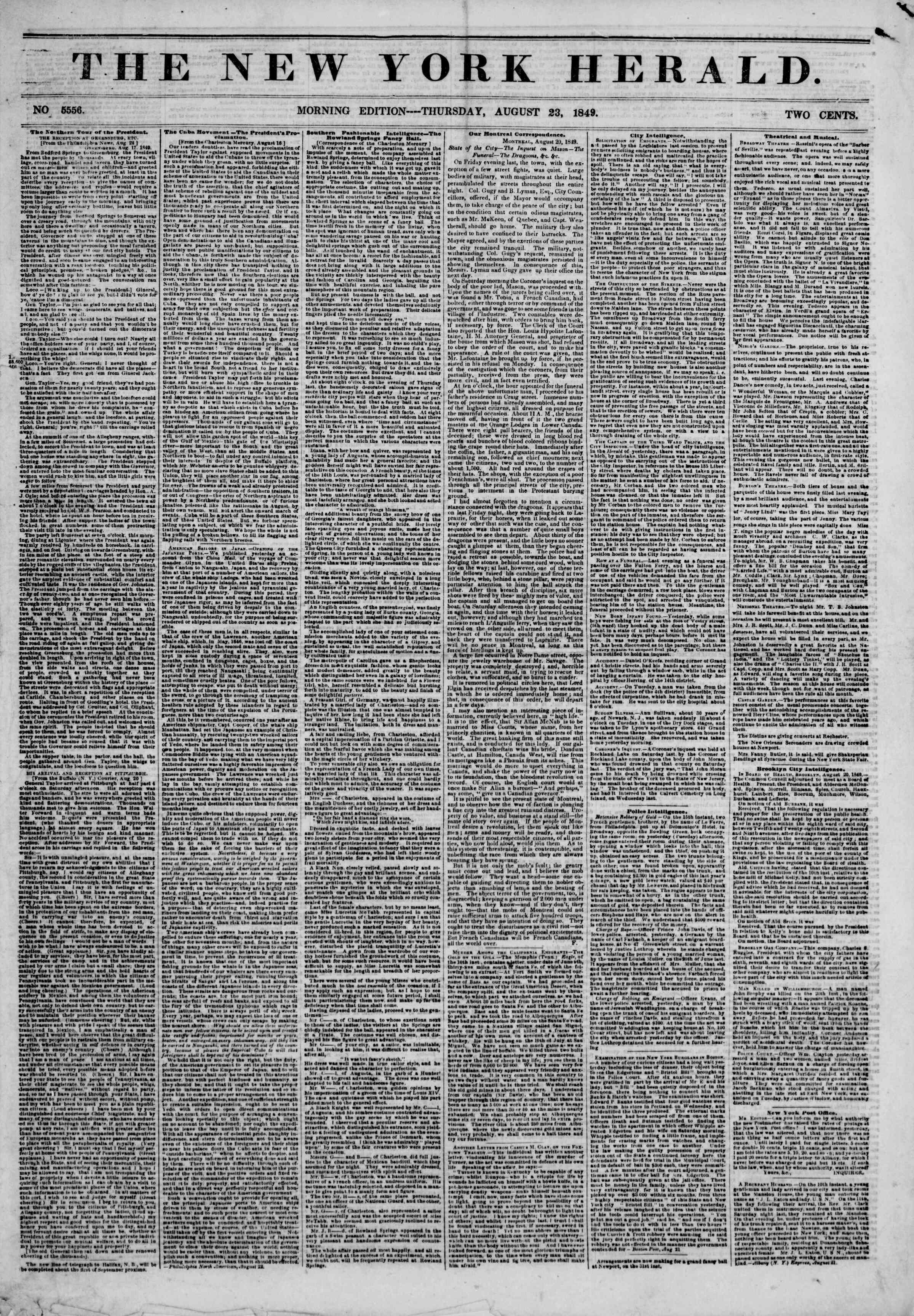 Newspaper of The New York Herald dated August 23, 1849 Page 1