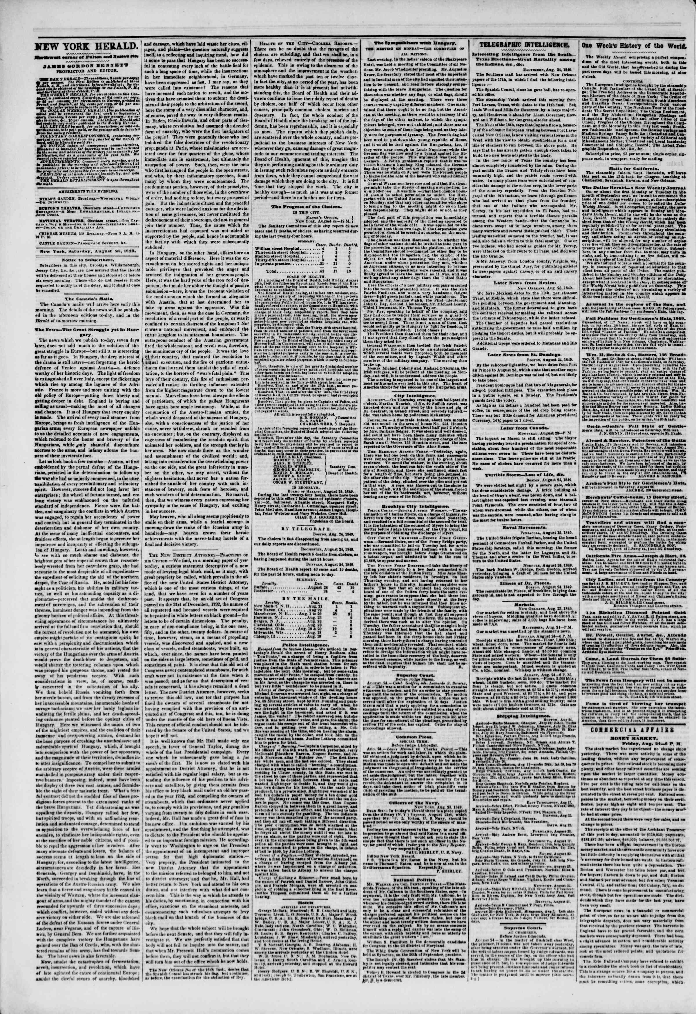 Newspaper of The New York Herald dated August 25, 1849 Page 2