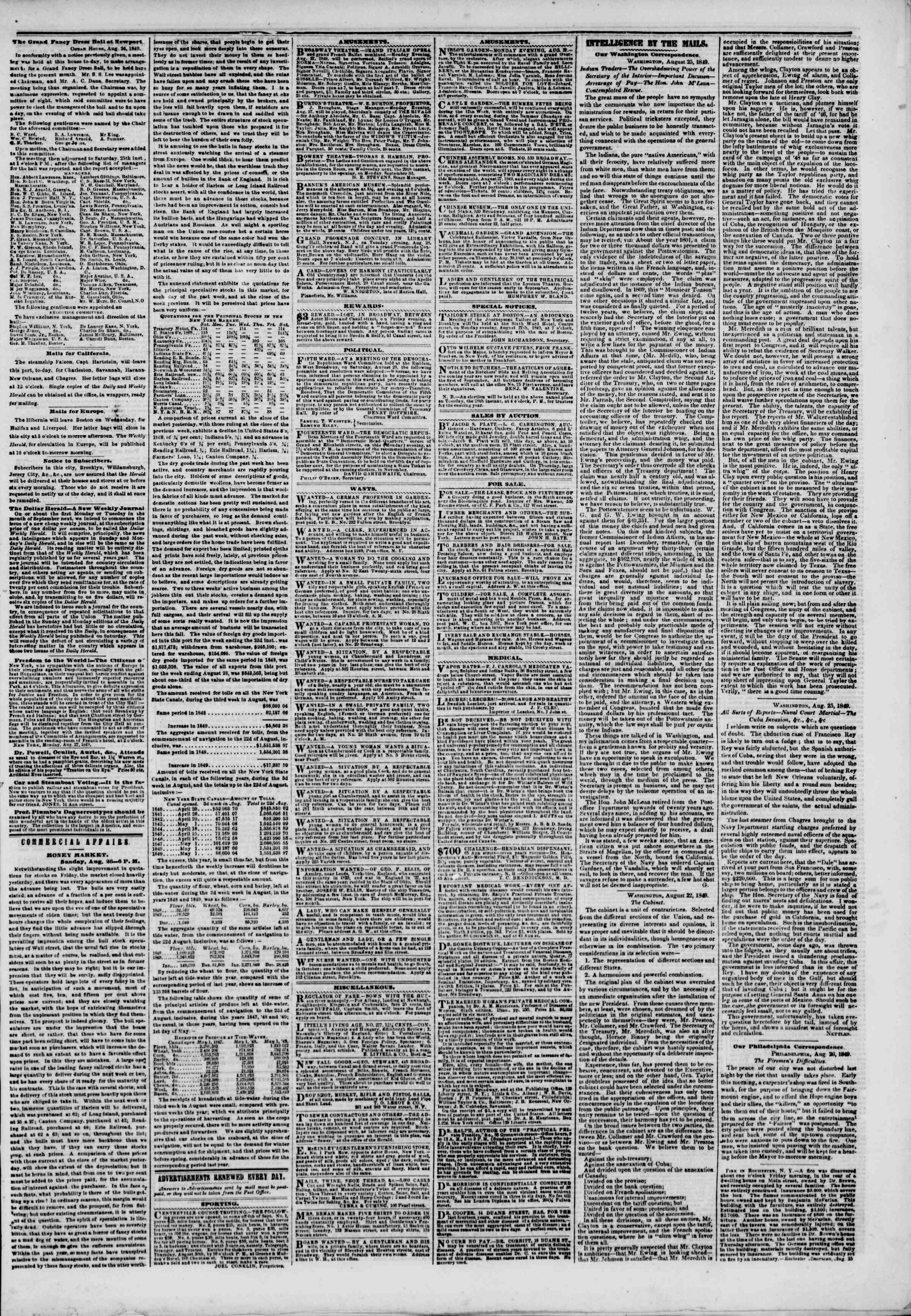 Newspaper of The New York Herald dated August 27, 1849 Page 3