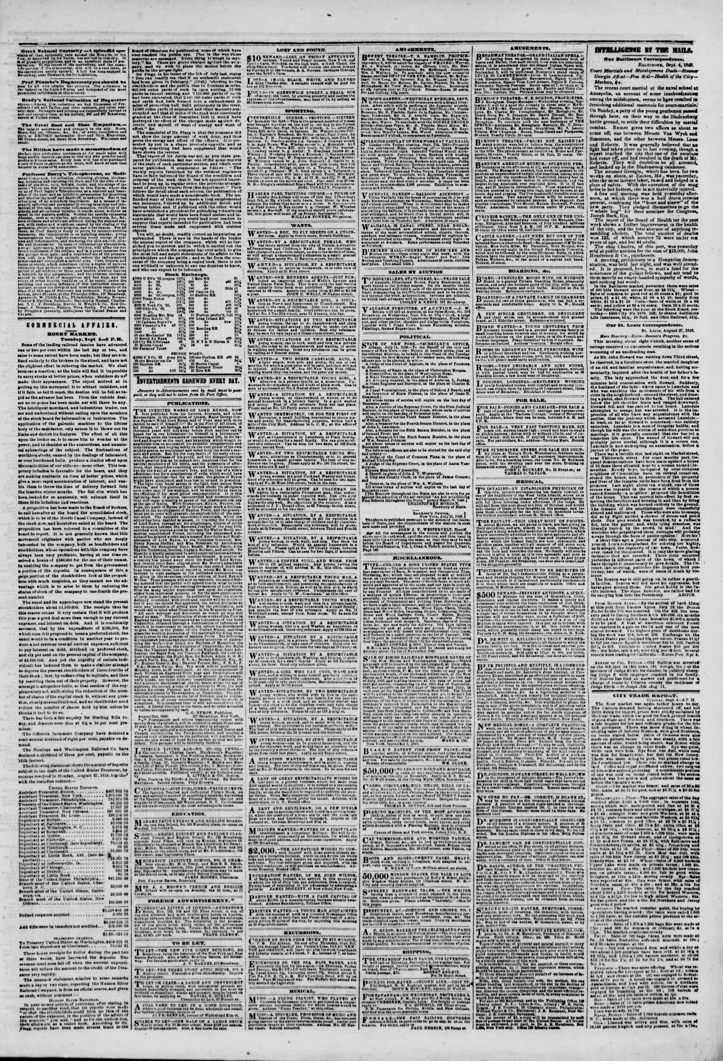 Newspaper of The New York Herald dated September 5, 1849 Page 3