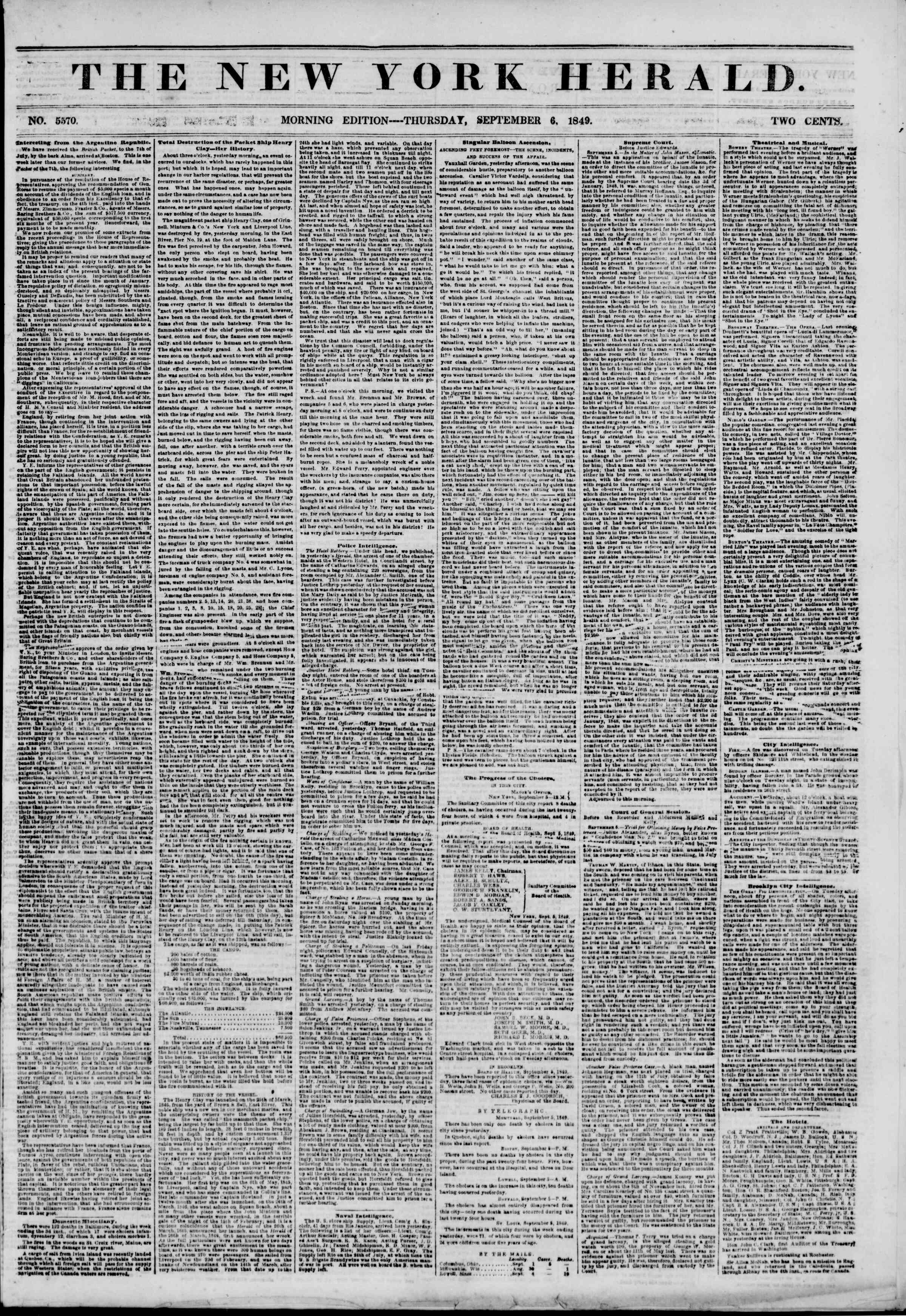 Newspaper of The New York Herald dated September 6, 1849 Page 1