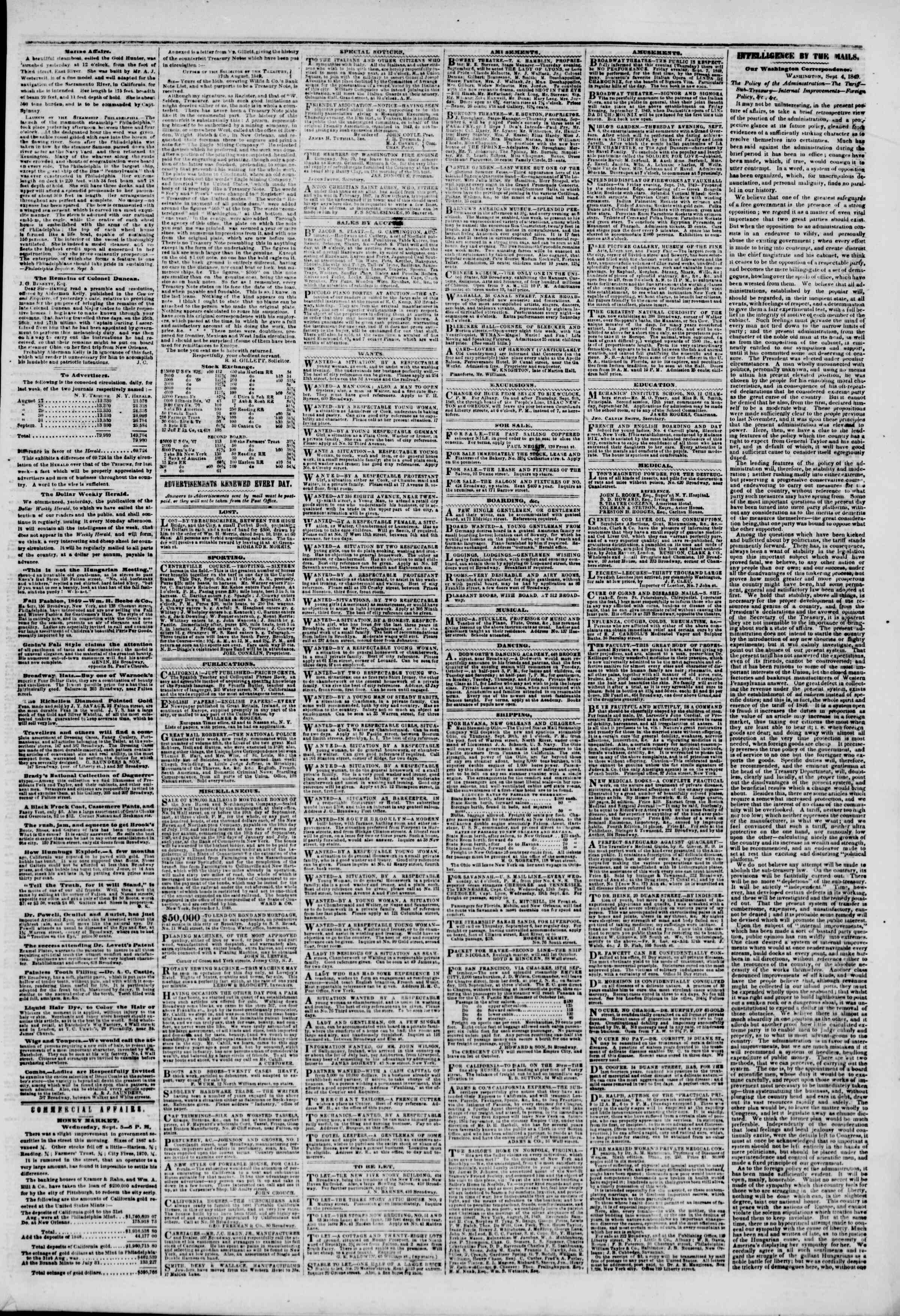 Newspaper of The New York Herald dated September 6, 1849 Page 3