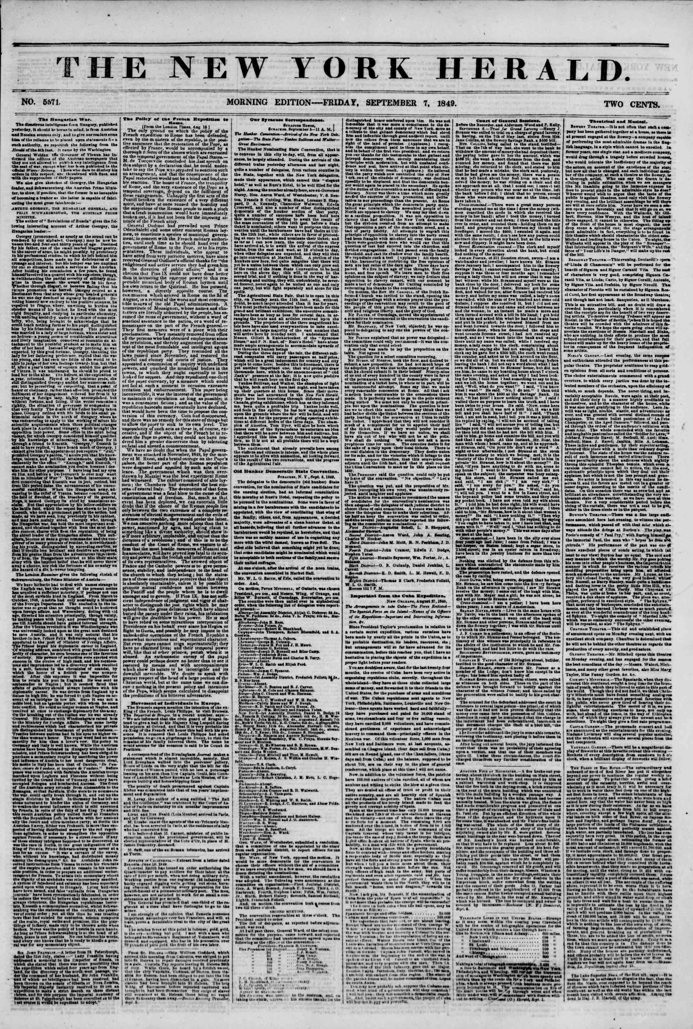 Newspaper of The New York Herald dated September 7, 1849 Page 1