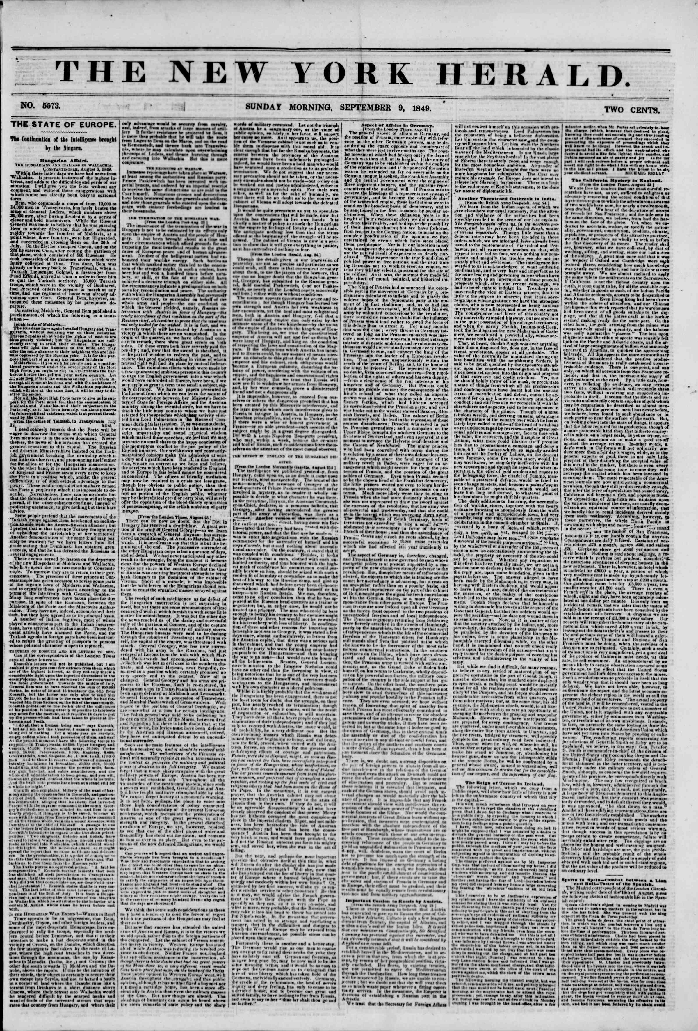 Newspaper of The New York Herald dated September 9, 1849 Page 1