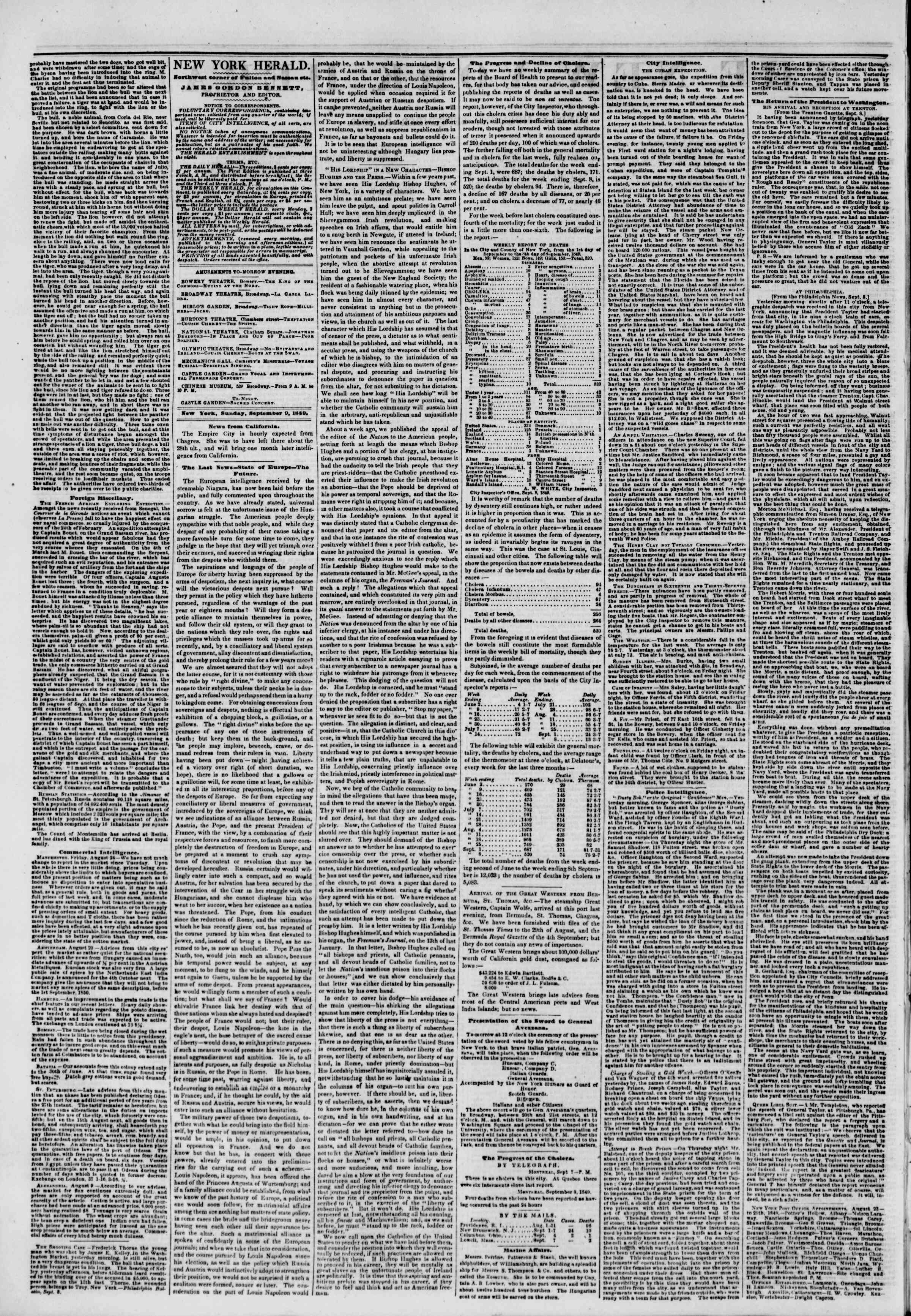 Newspaper of The New York Herald dated September 9, 1849 Page 2