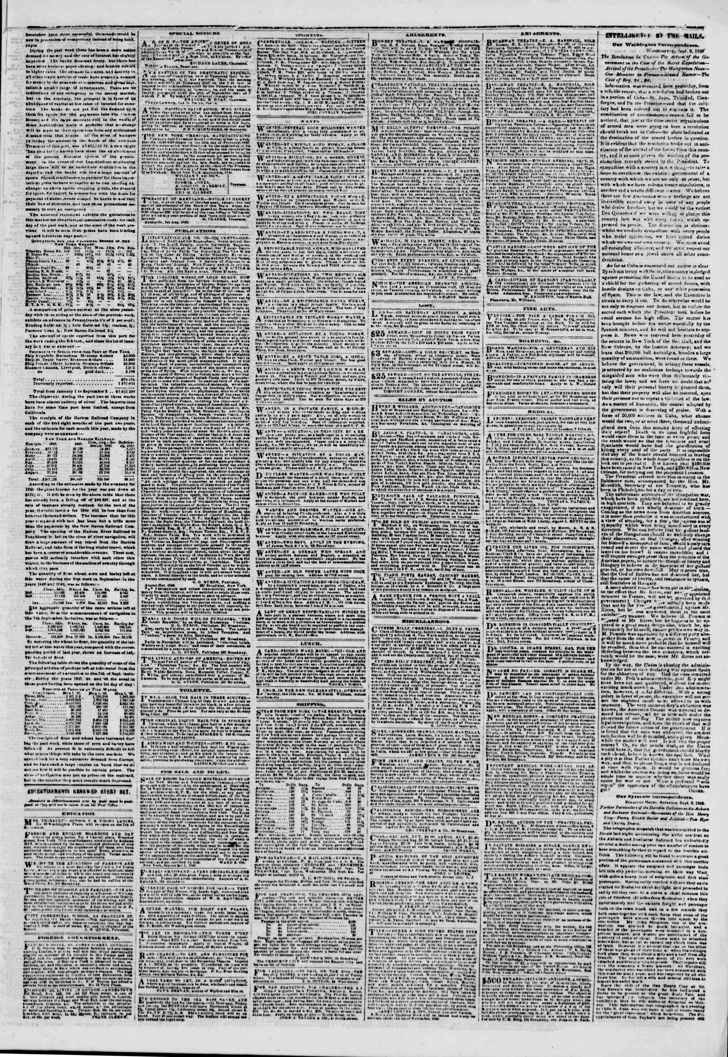 Newspaper of The New York Herald dated September 10, 1849 Page 3