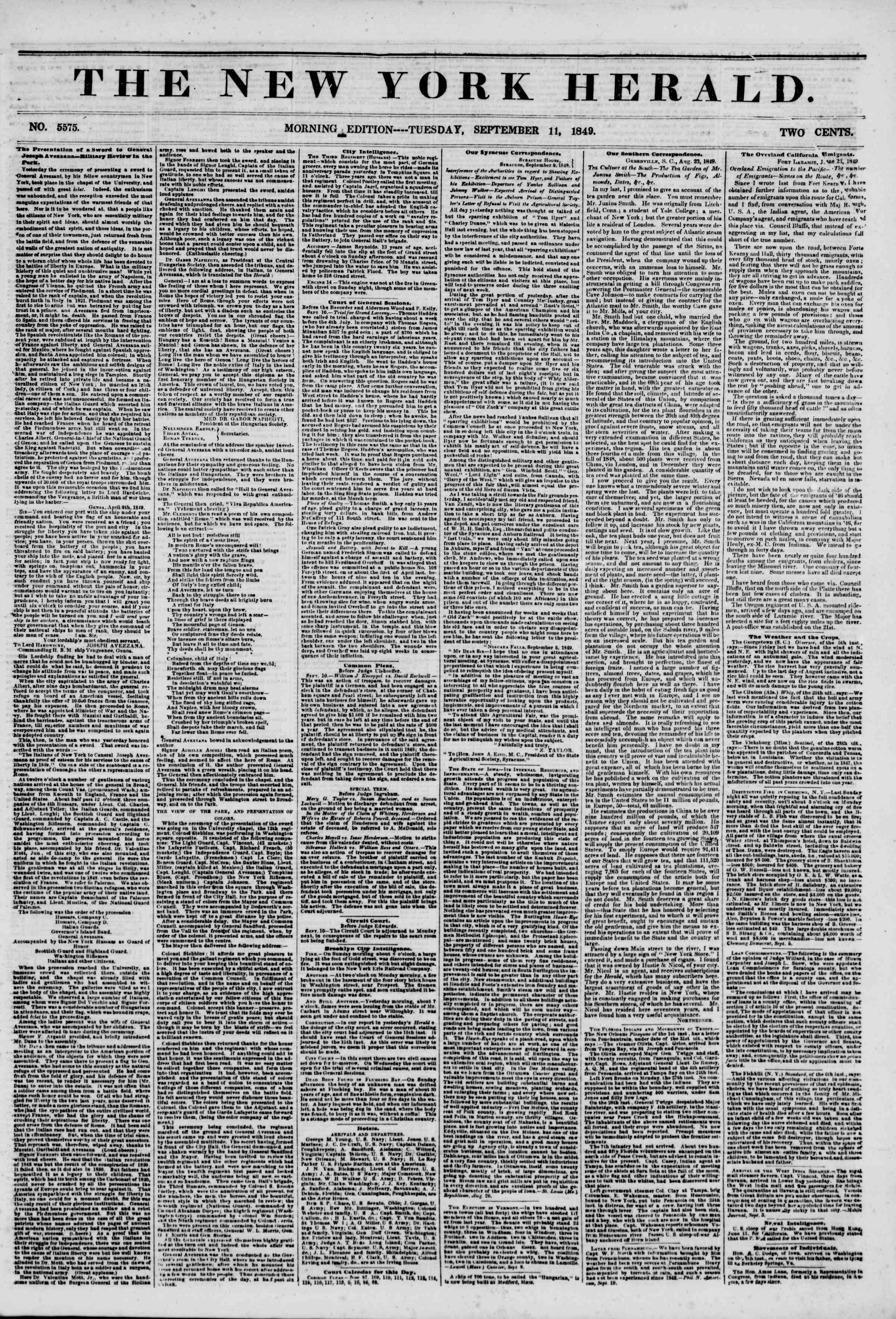 Newspaper of The New York Herald dated September 11, 1849 Page 1