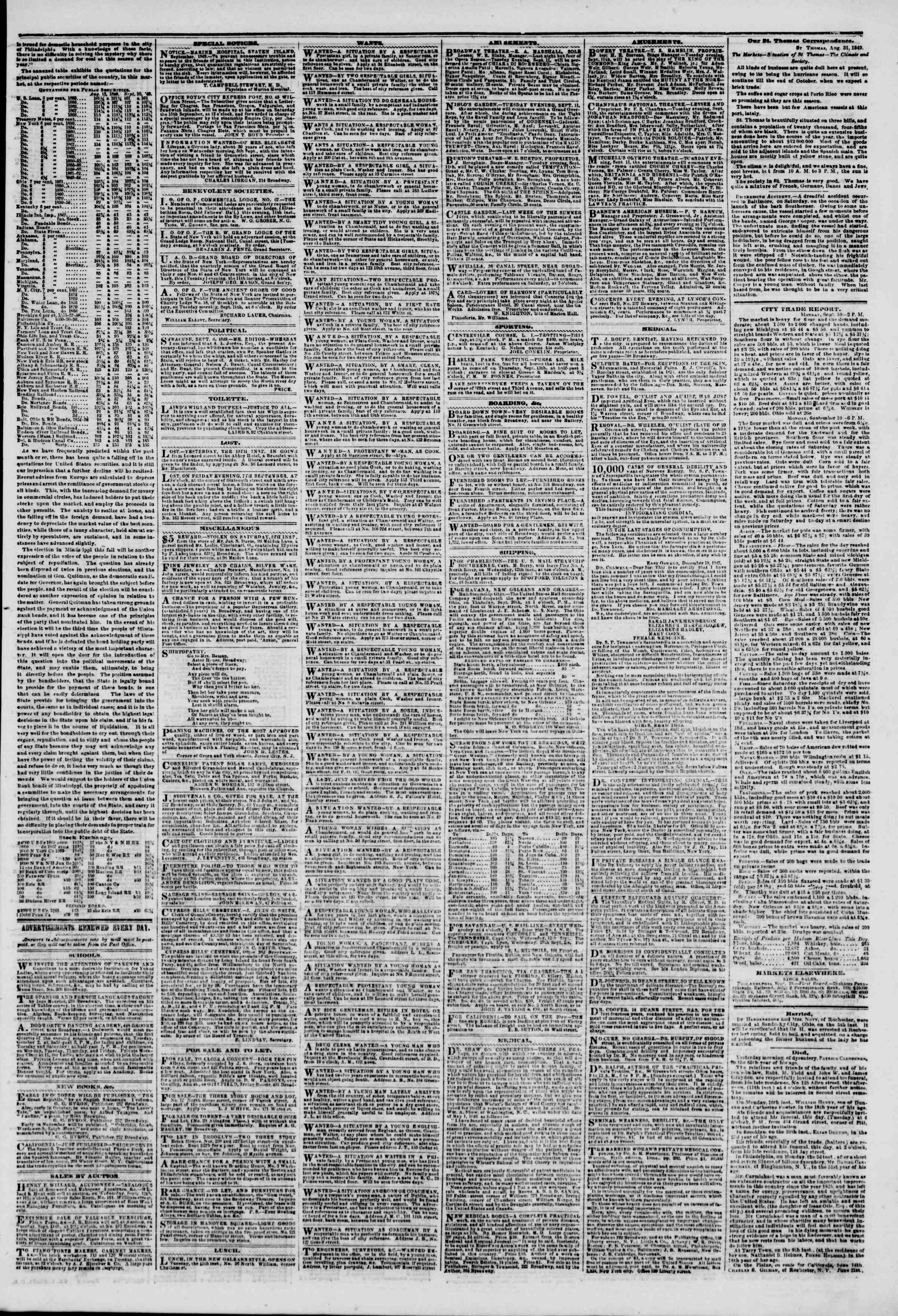 Newspaper of The New York Herald dated September 11, 1849 Page 3
