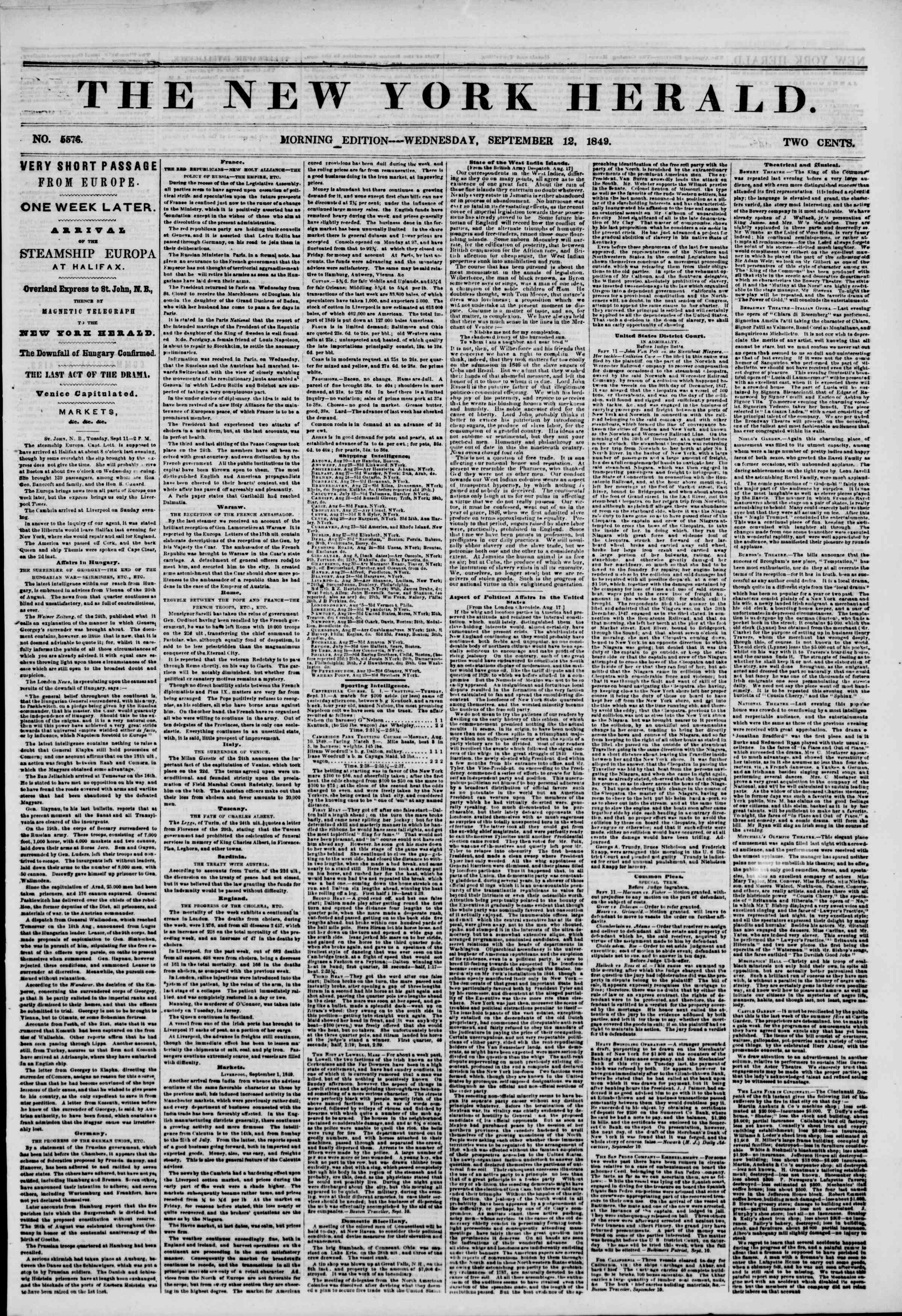 Newspaper of The New York Herald dated September 12, 1849 Page 1