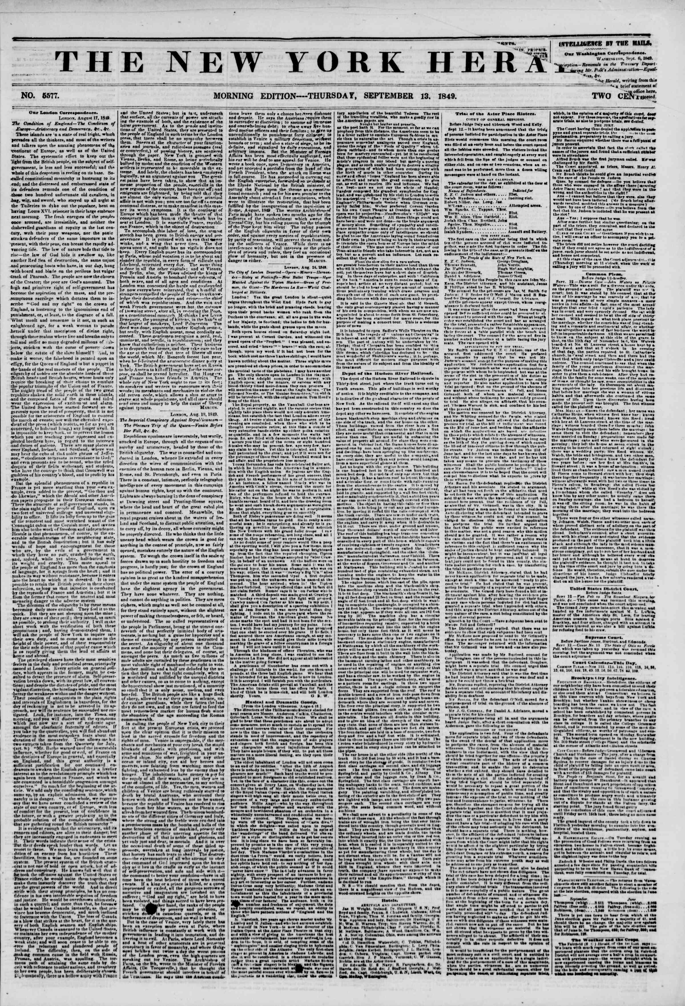 Newspaper of The New York Herald dated September 13, 1849 Page 1