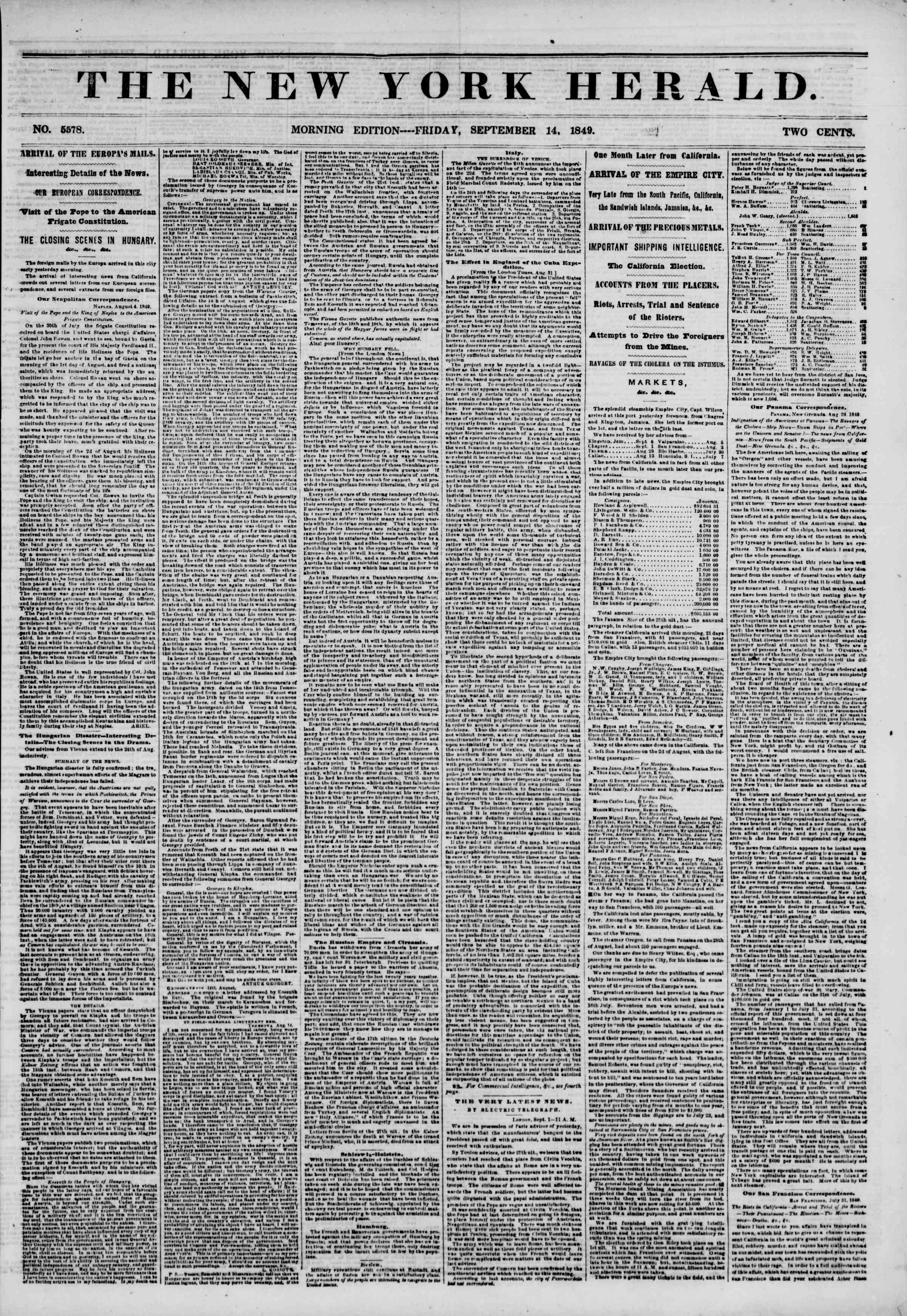 Newspaper of The New York Herald dated 14 Eylül 1849 Page 1
