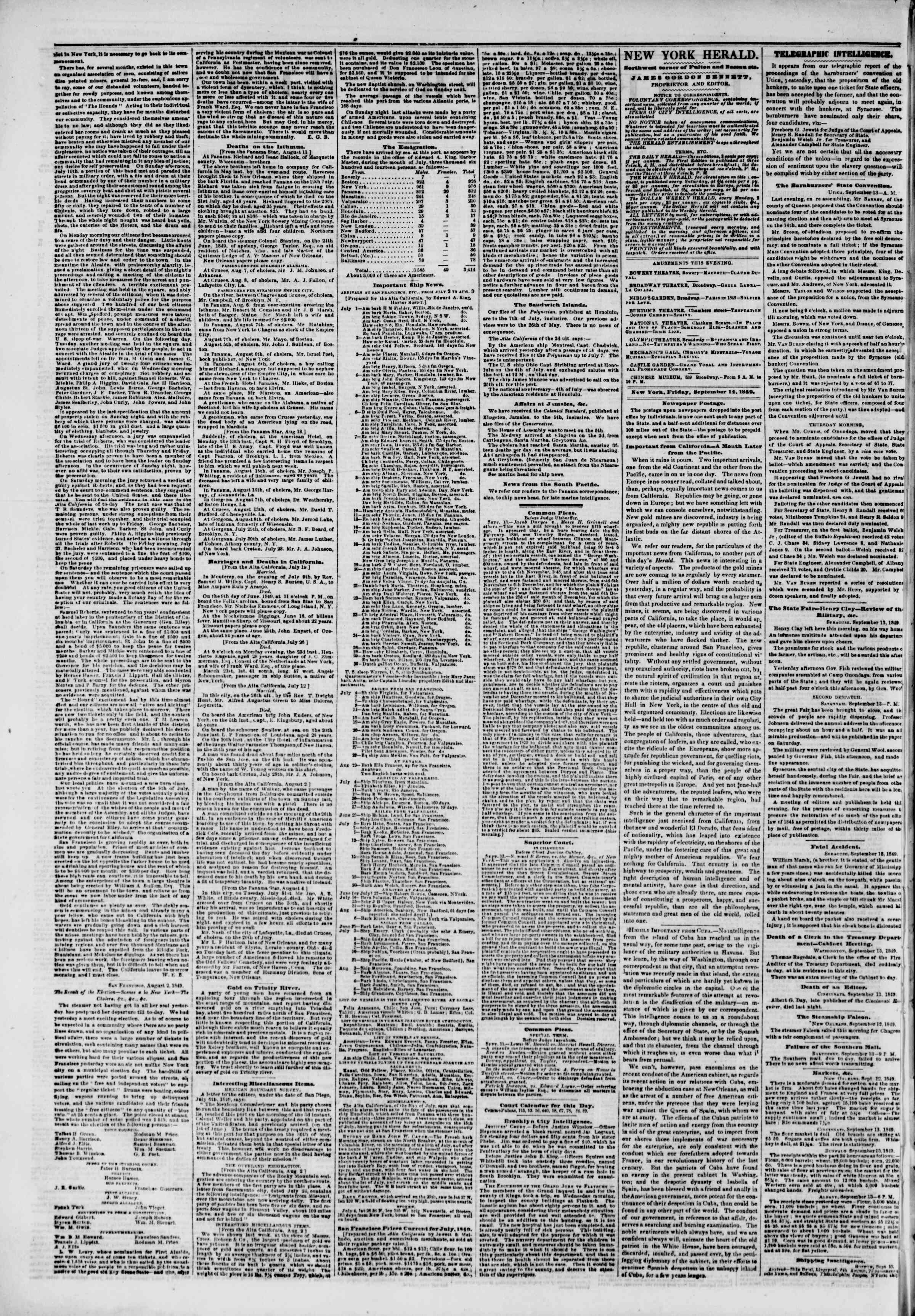 Newspaper of The New York Herald dated September 14, 1849 Page 2