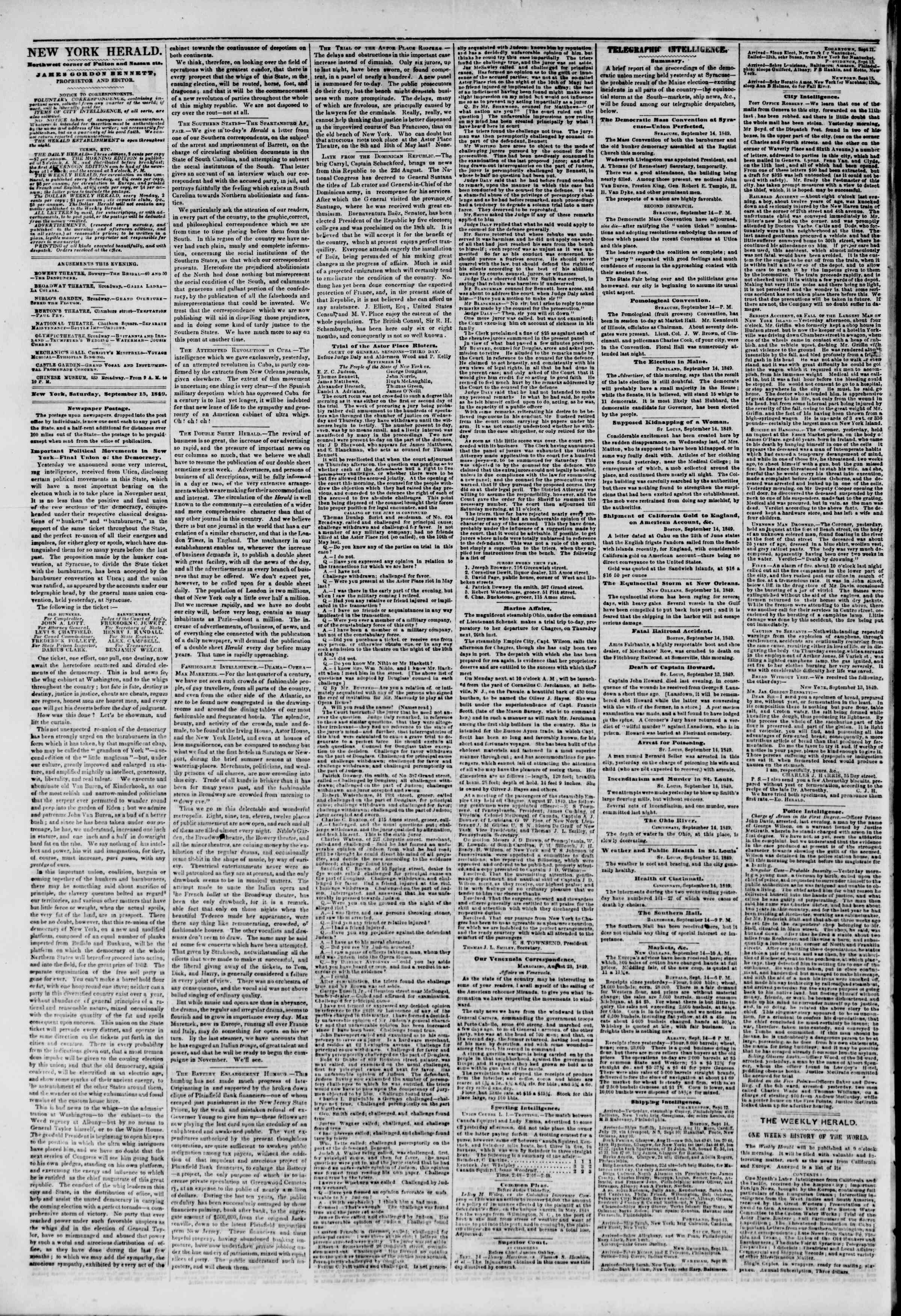 Newspaper of The New York Herald dated September 15, 1849 Page 2