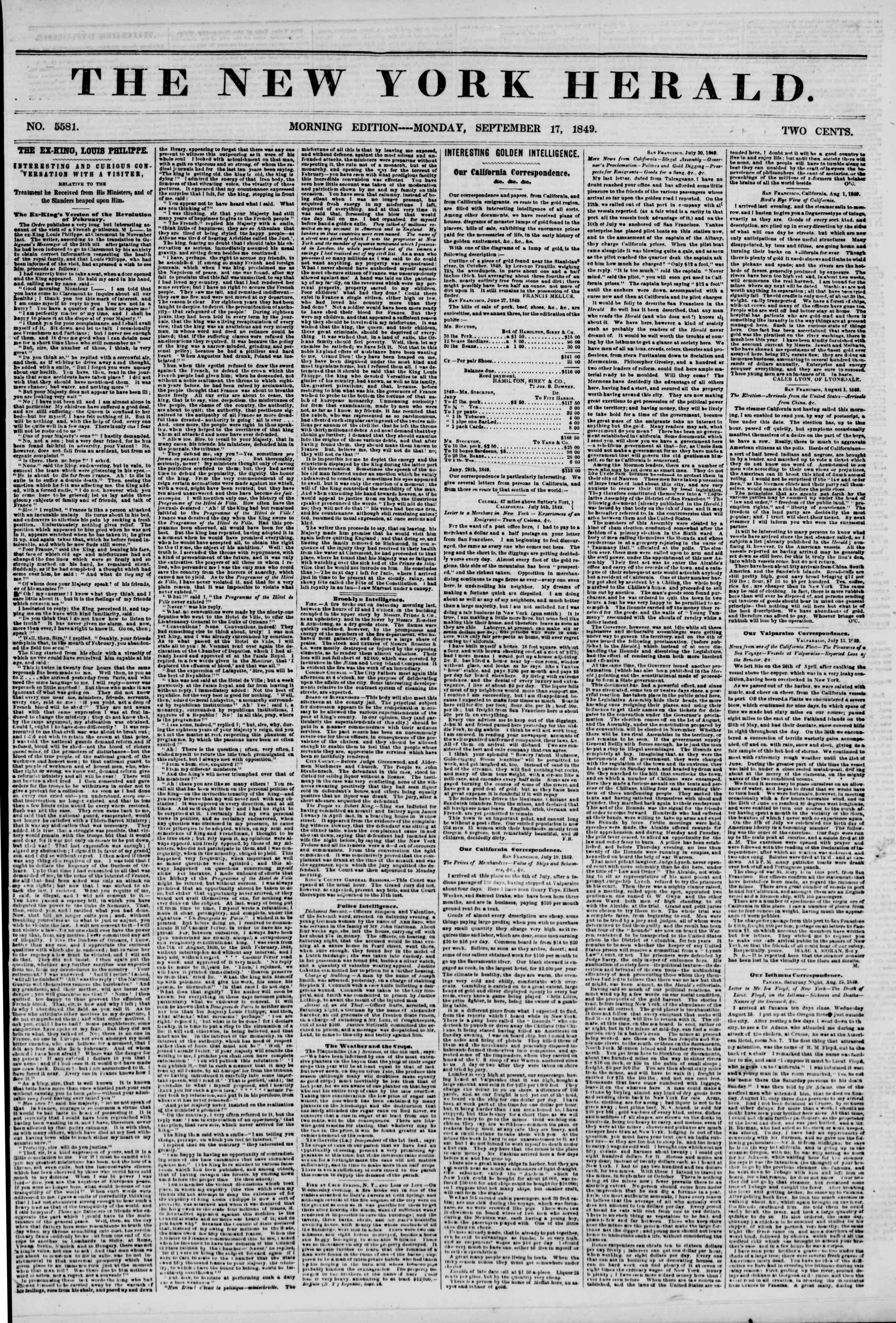 Newspaper of The New York Herald dated September 17, 1849 Page 1