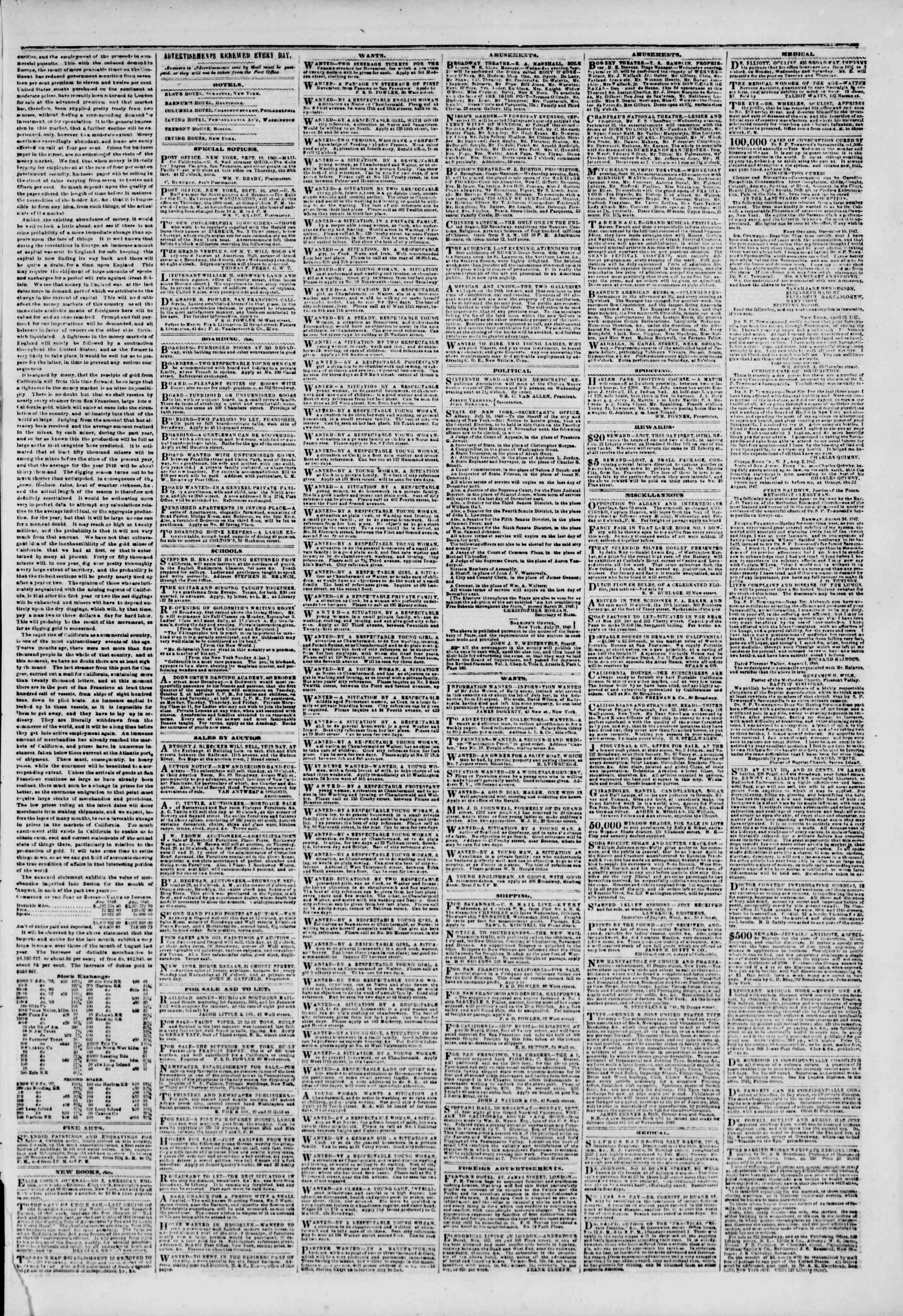 Newspaper of The New York Herald dated September 19, 1849 Page 3