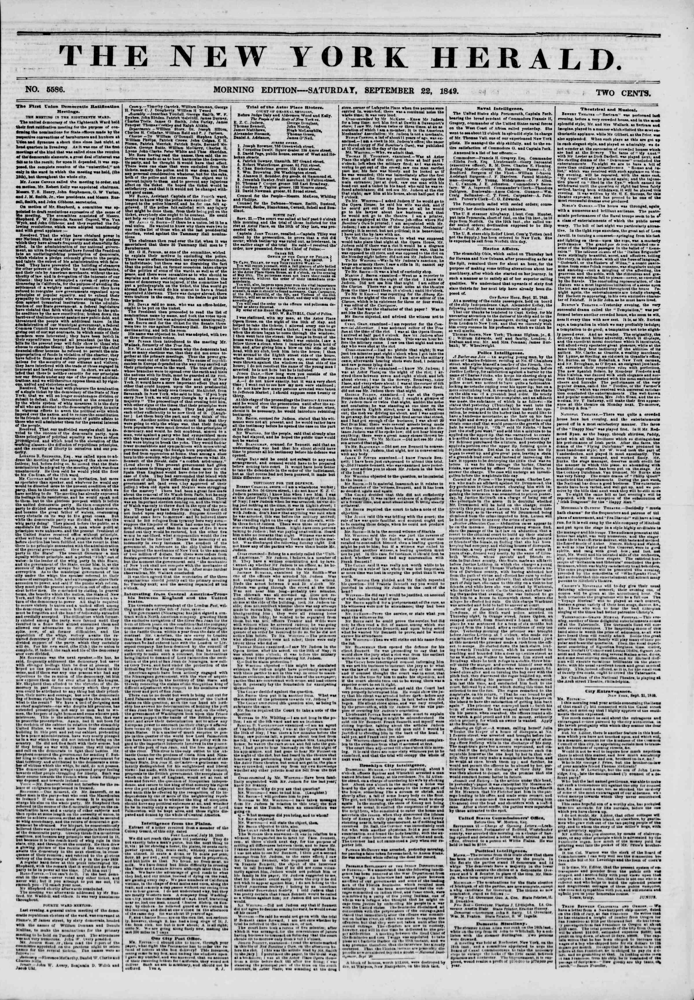 Newspaper of The New York Herald dated September 22, 1849 Page 1