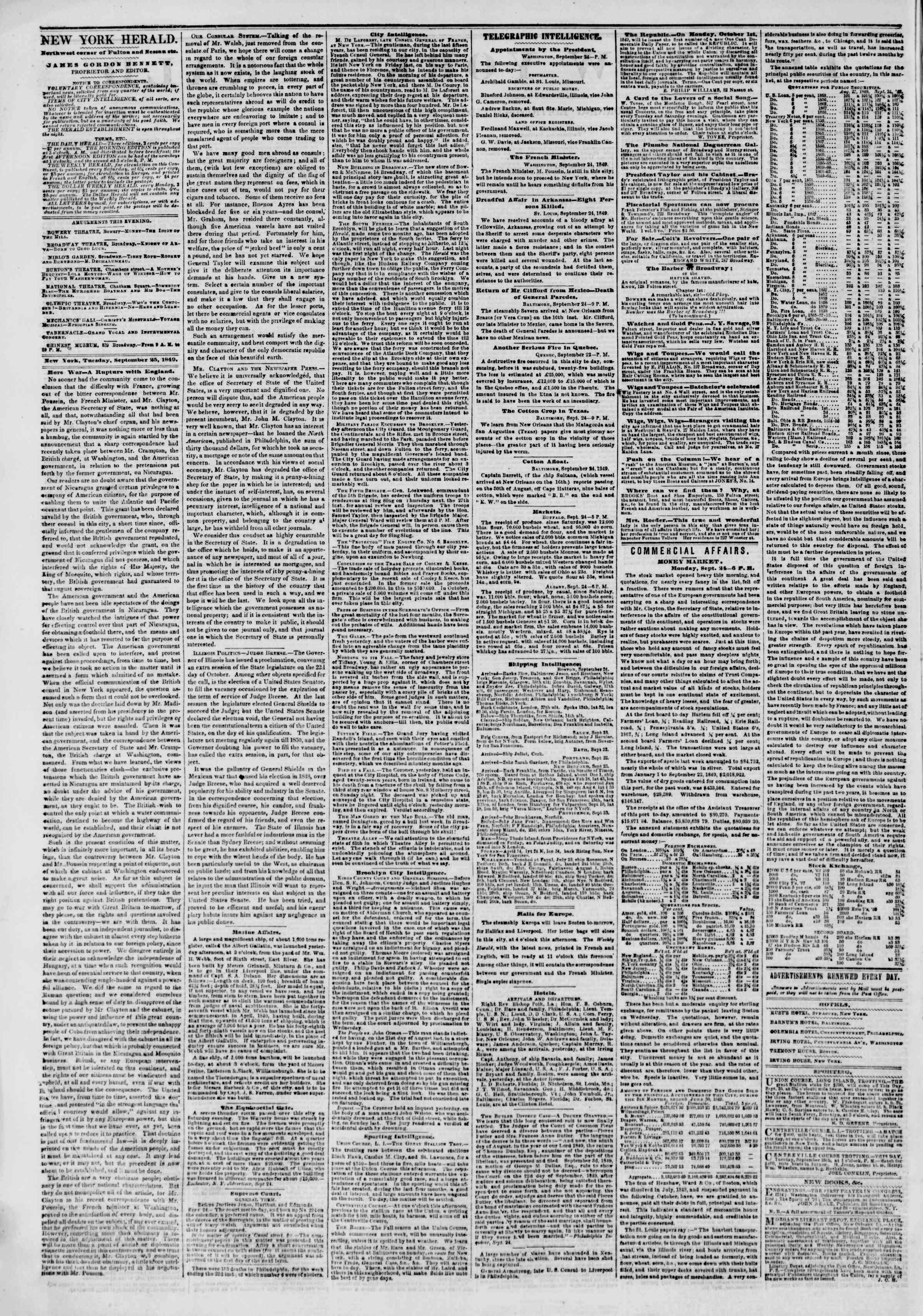 Newspaper of The New York Herald dated September 25, 1849 Page 2