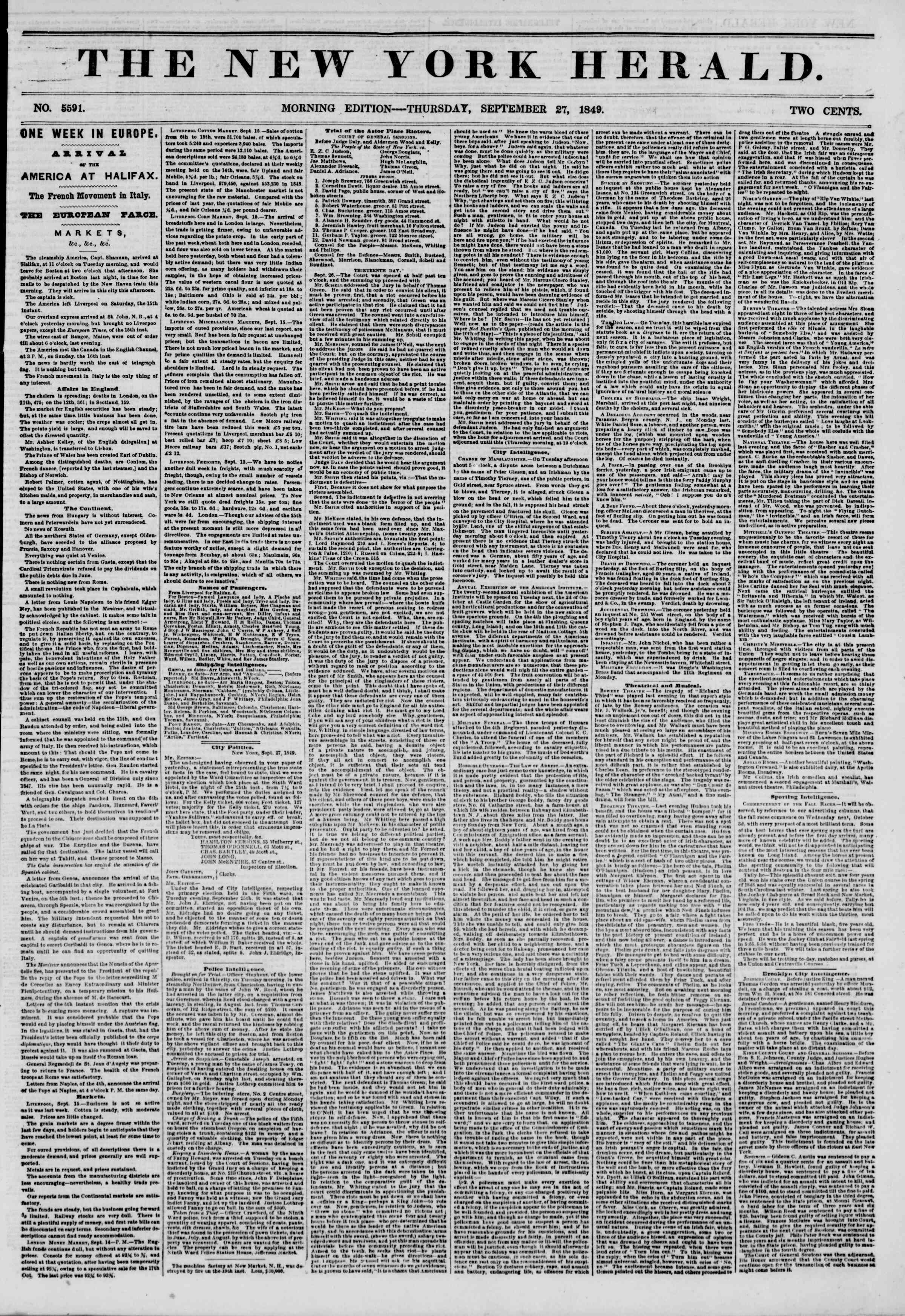 Newspaper of The New York Herald dated September 27, 1849 Page 1