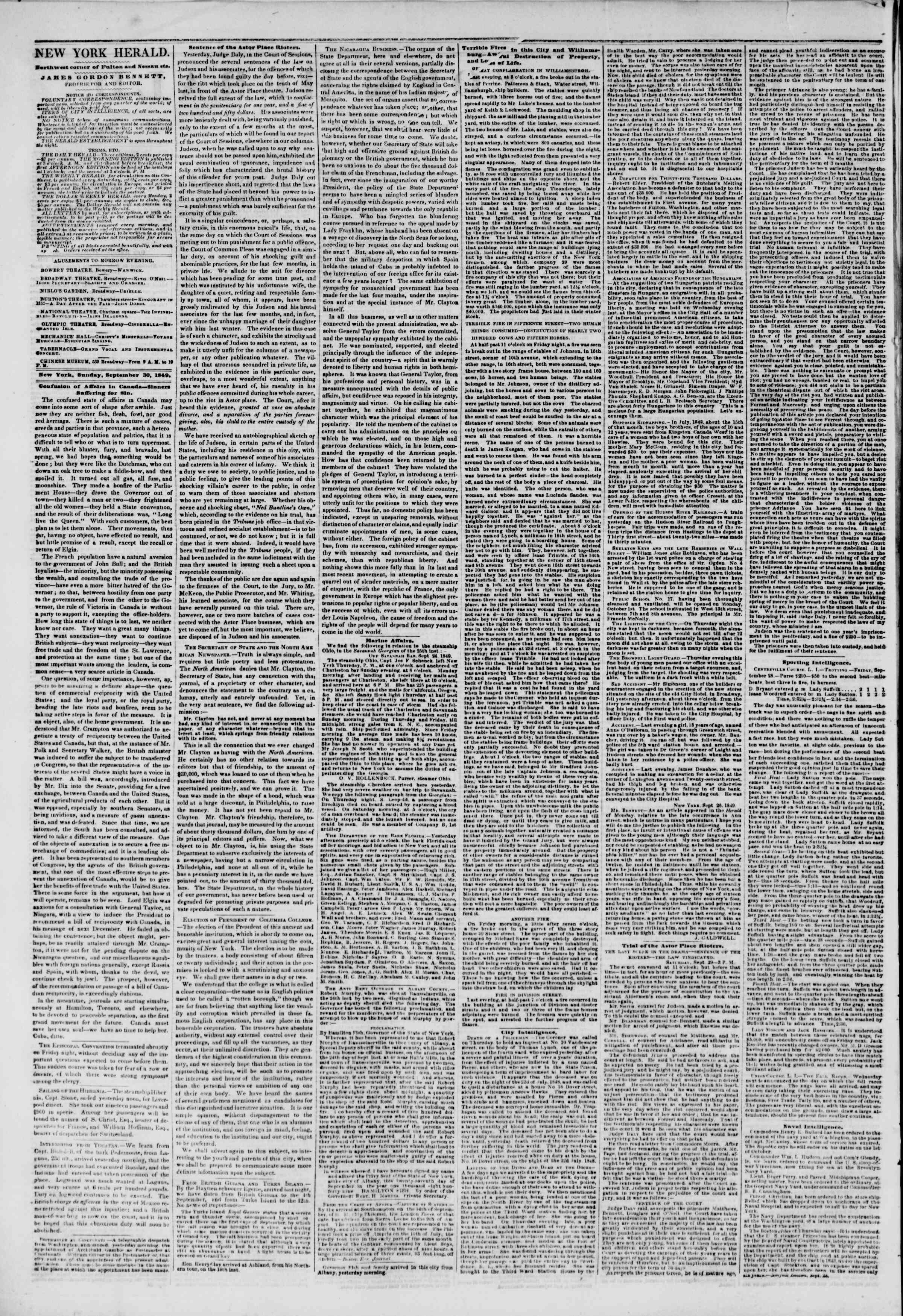 Newspaper of The New York Herald dated September 30, 1849 Page 2
