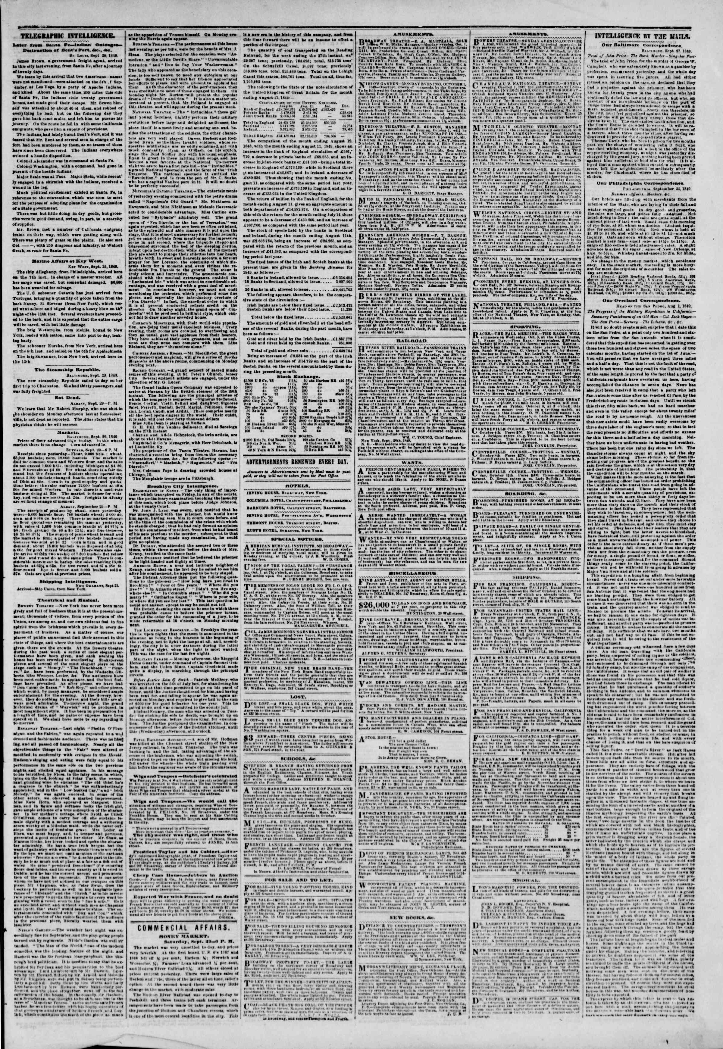 Newspaper of The New York Herald dated September 30, 1849 Page 3