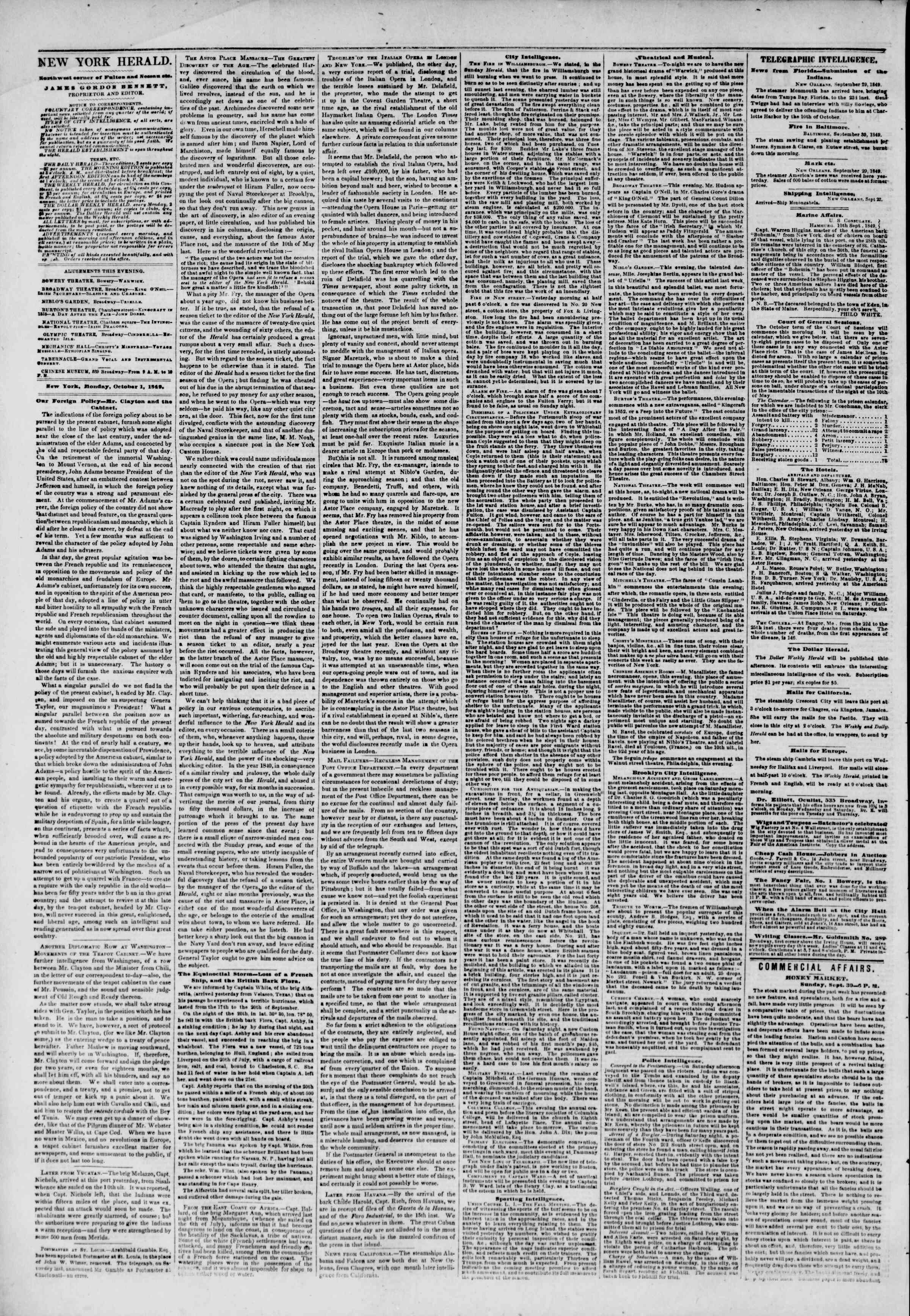 Newspaper of The New York Herald dated October 1, 1849 Page 2