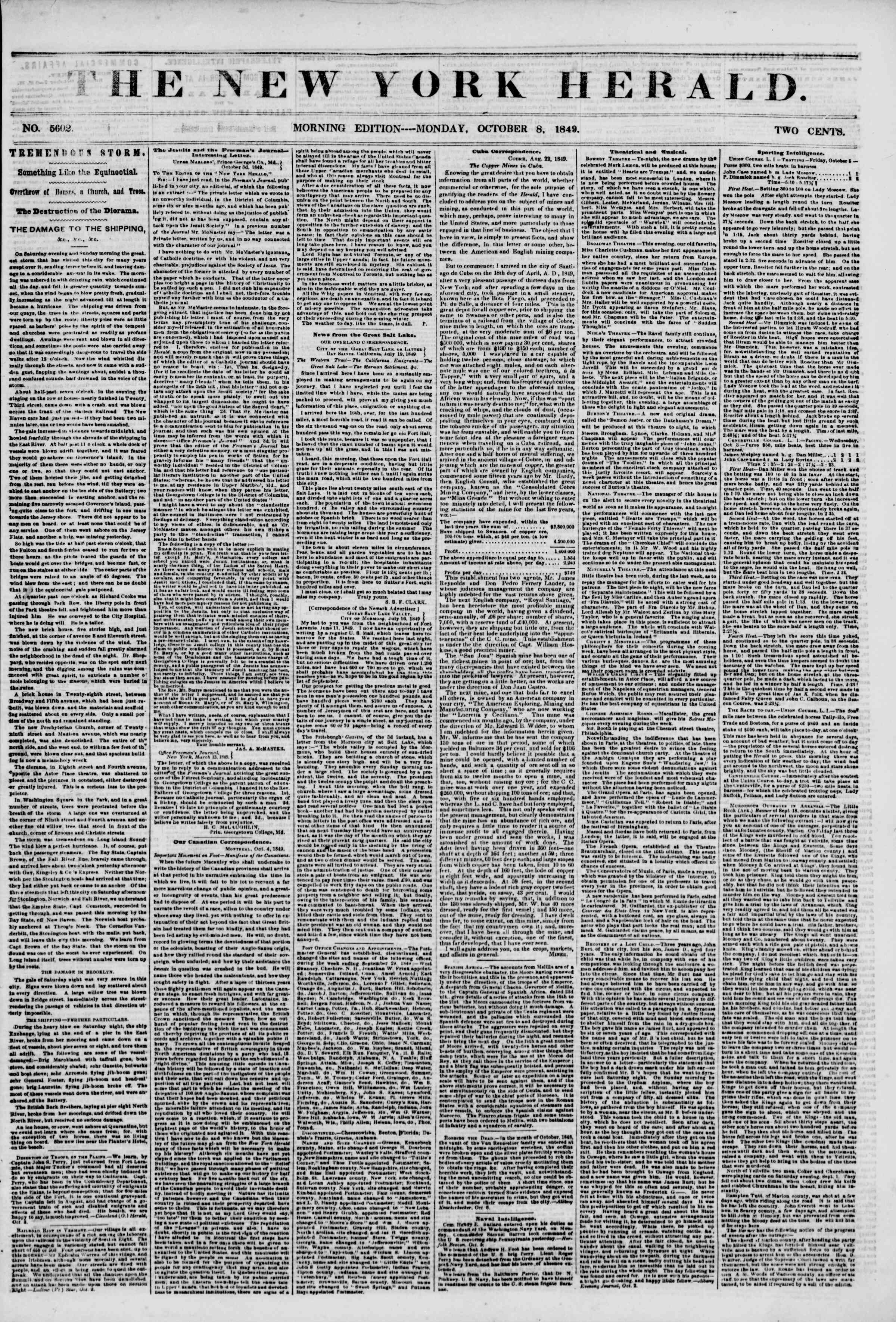 Newspaper of The New York Herald dated October 8, 1849 Page 1