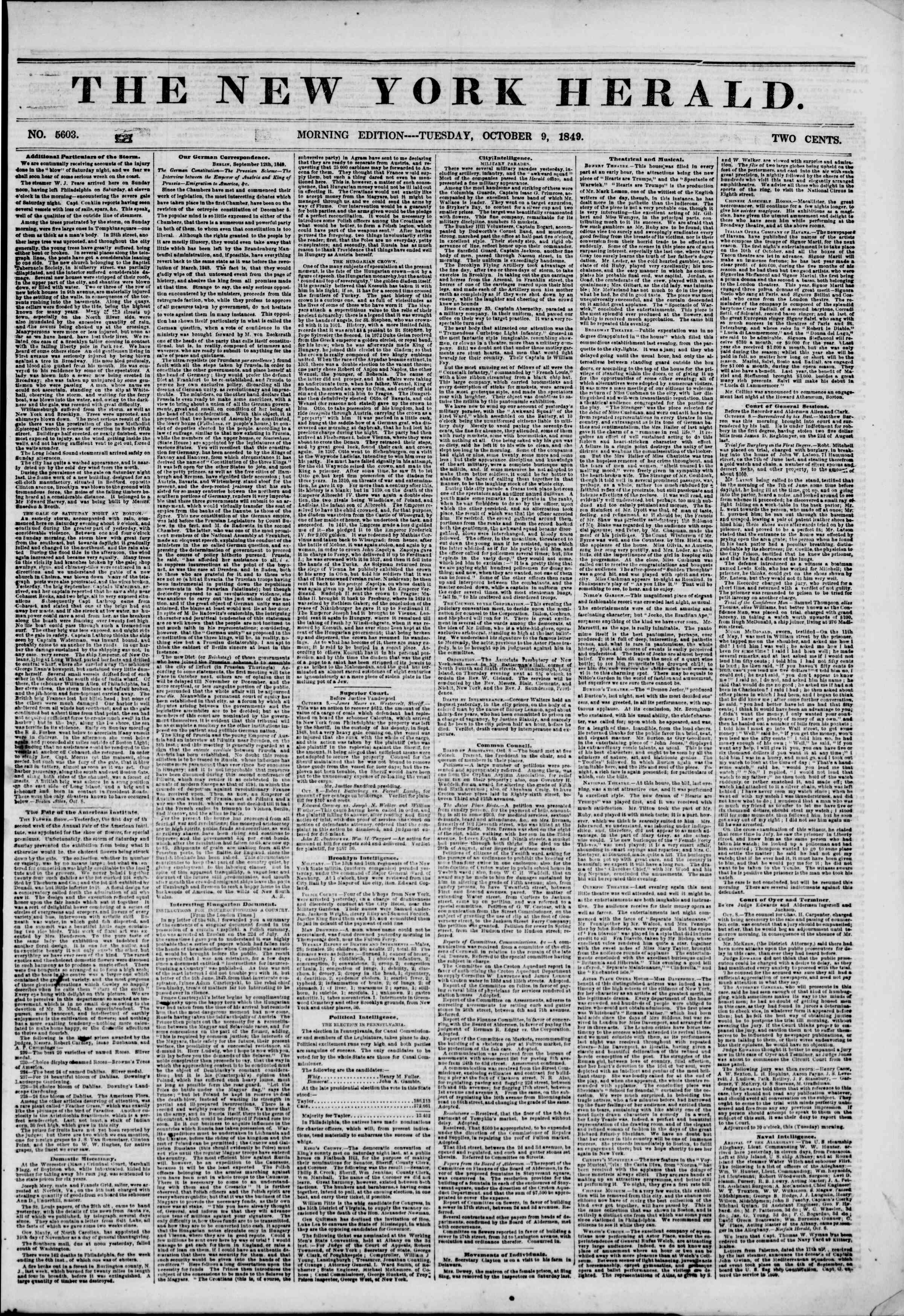 Newspaper of The New York Herald dated October 9, 1849 Page 1