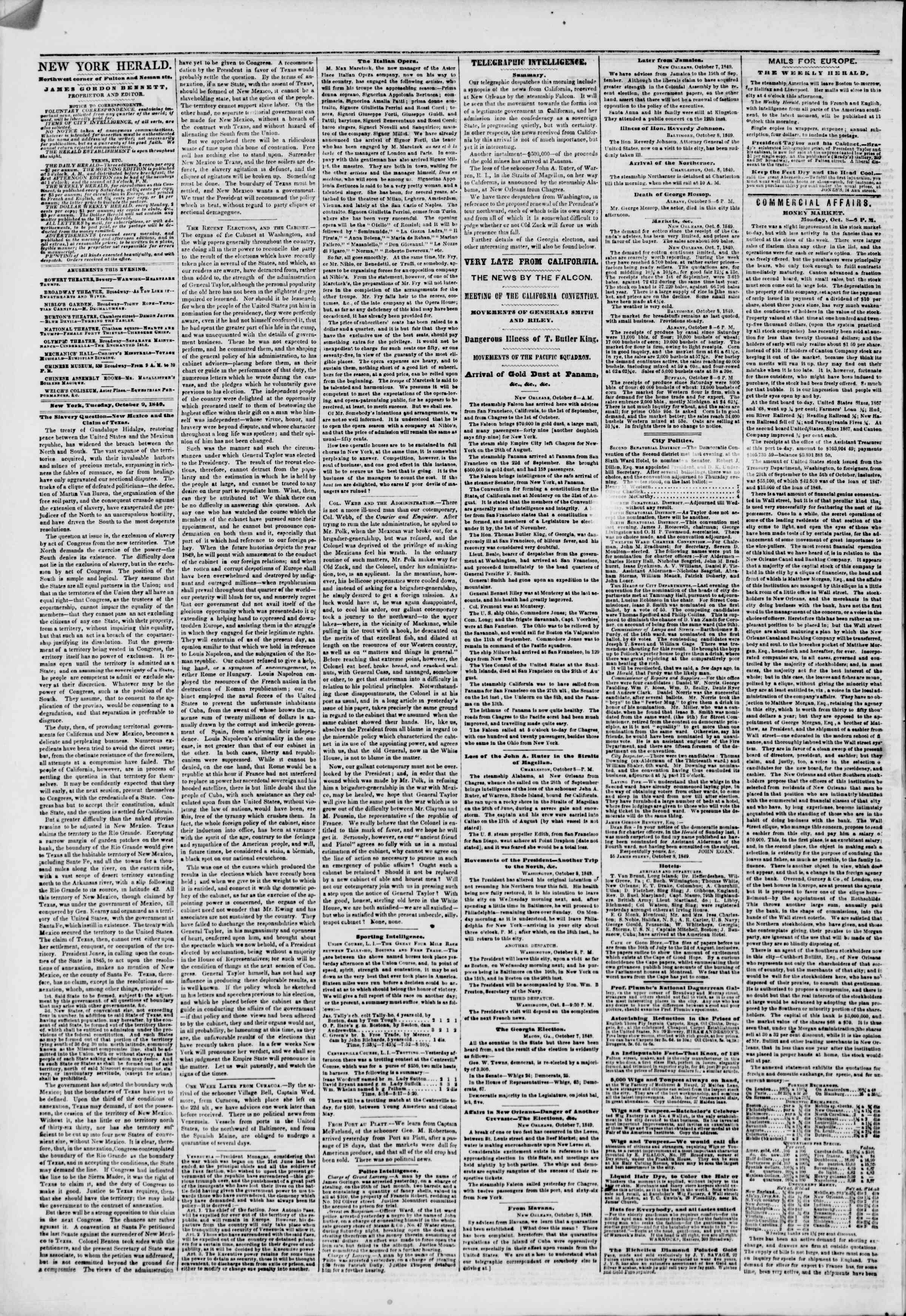 Newspaper of The New York Herald dated October 9, 1849 Page 2