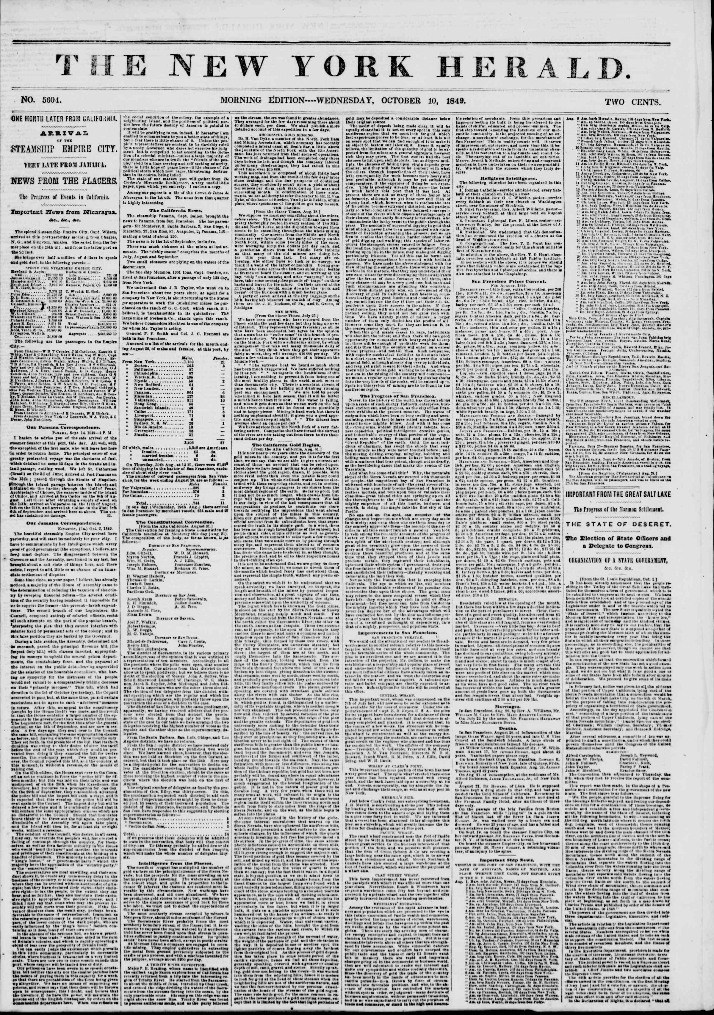 Newspaper of The New York Herald dated October 10, 1849 Page 1