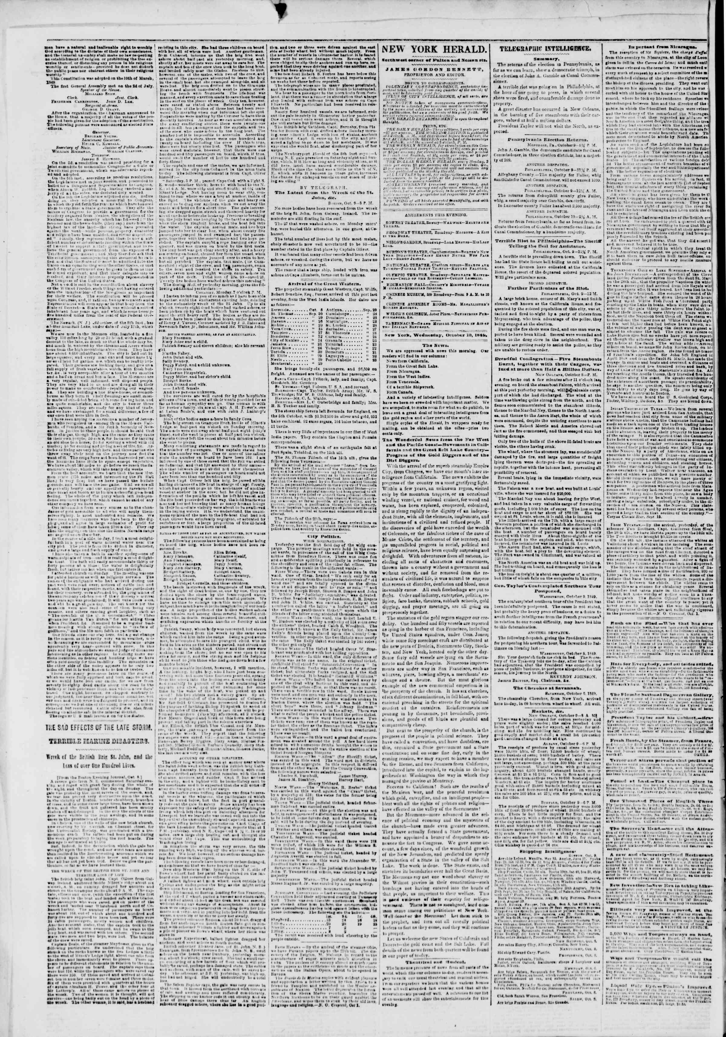 Newspaper of The New York Herald dated October 10, 1849 Page 2