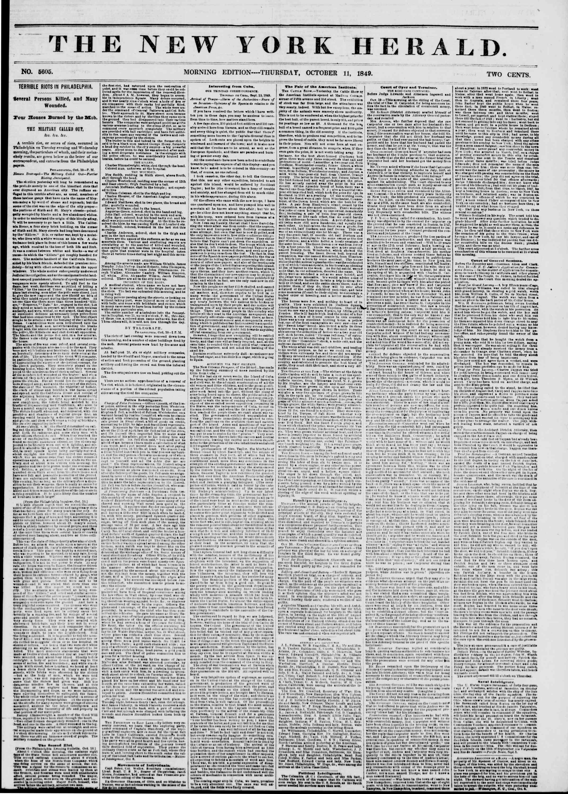 Newspaper of The New York Herald dated October 11, 1849 Page 1