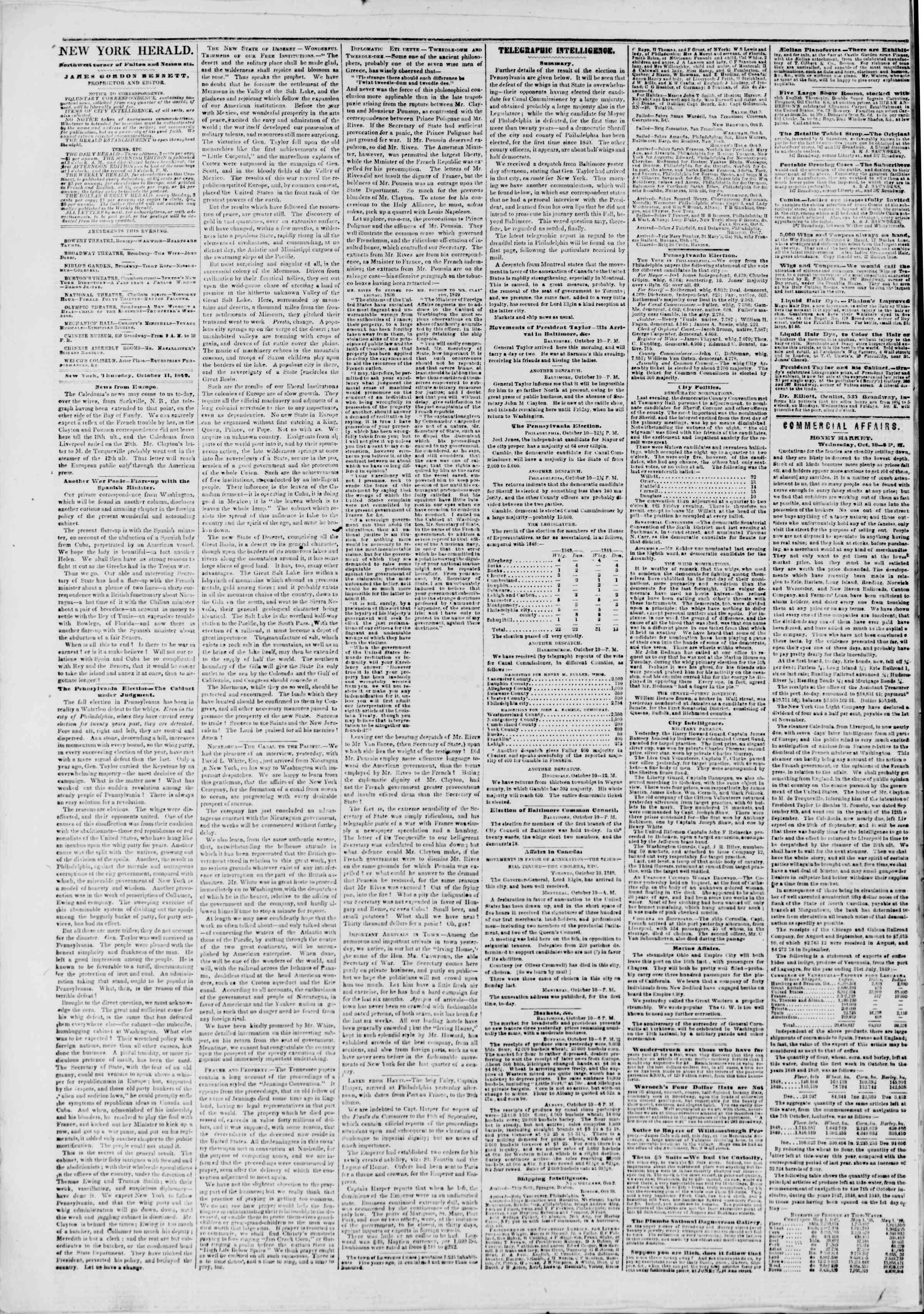 Newspaper of The New York Herald dated October 11, 1849 Page 2