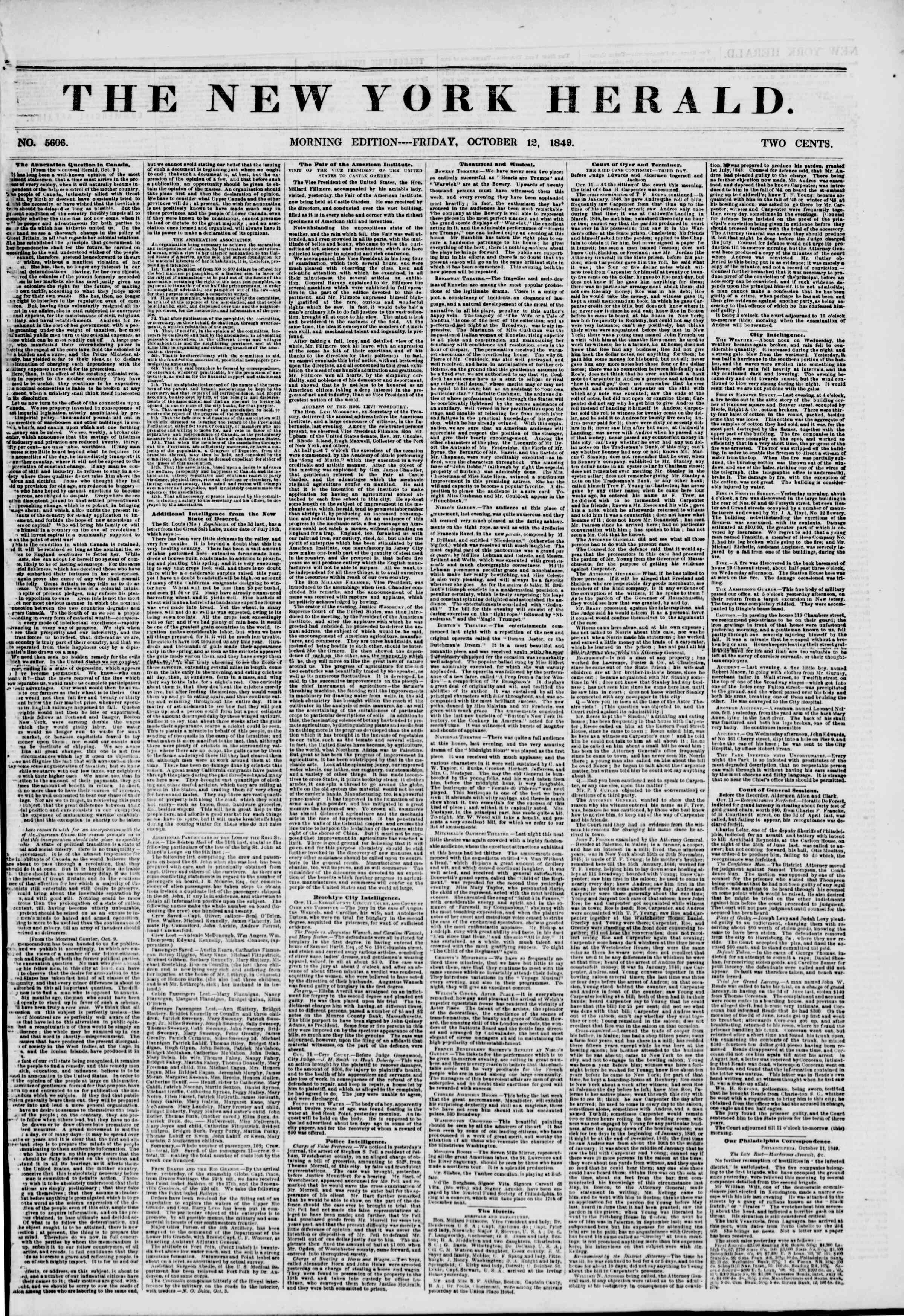 Newspaper of The New York Herald dated October 12, 1849 Page 1