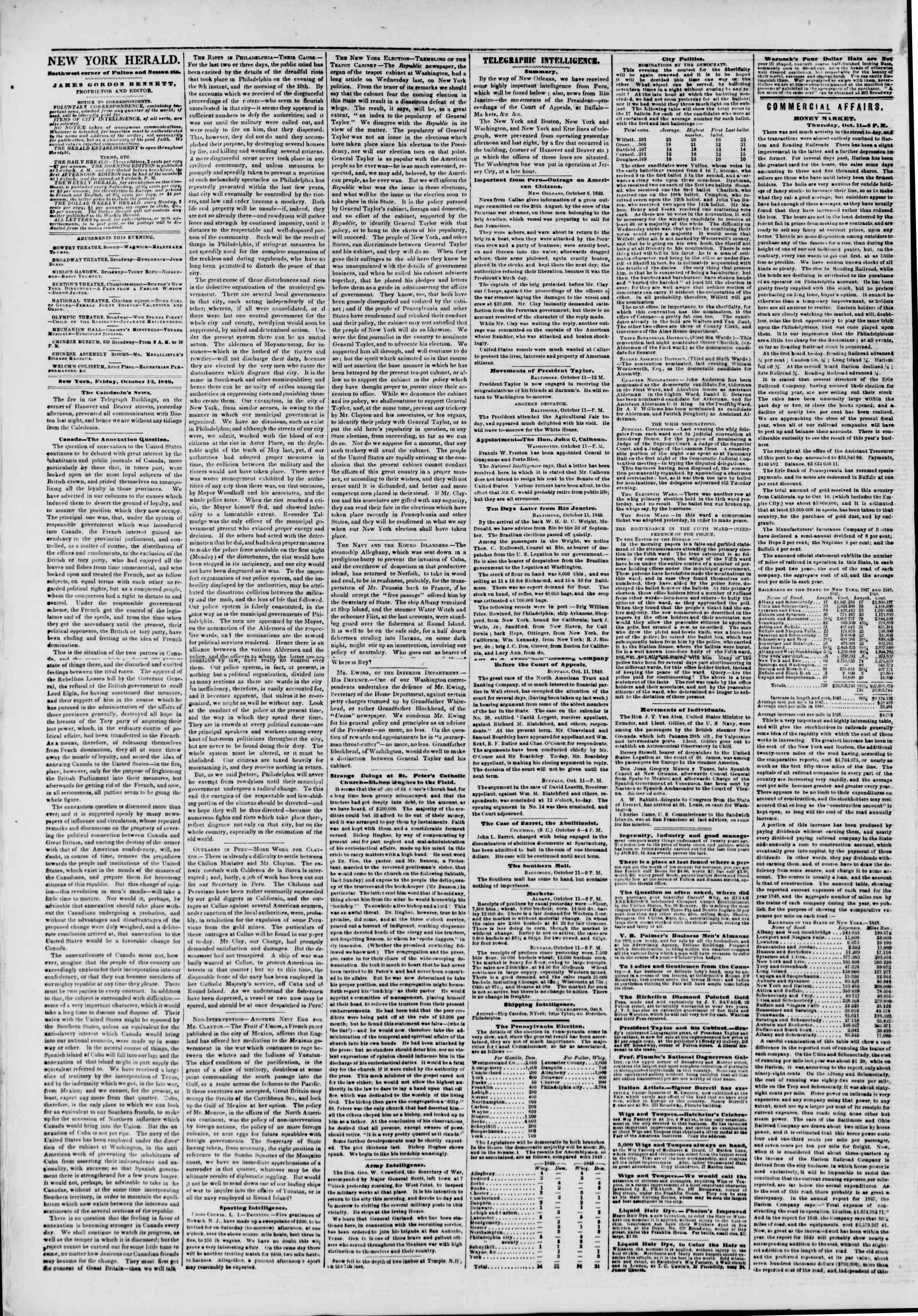 Newspaper of The New York Herald dated October 12, 1849 Page 2