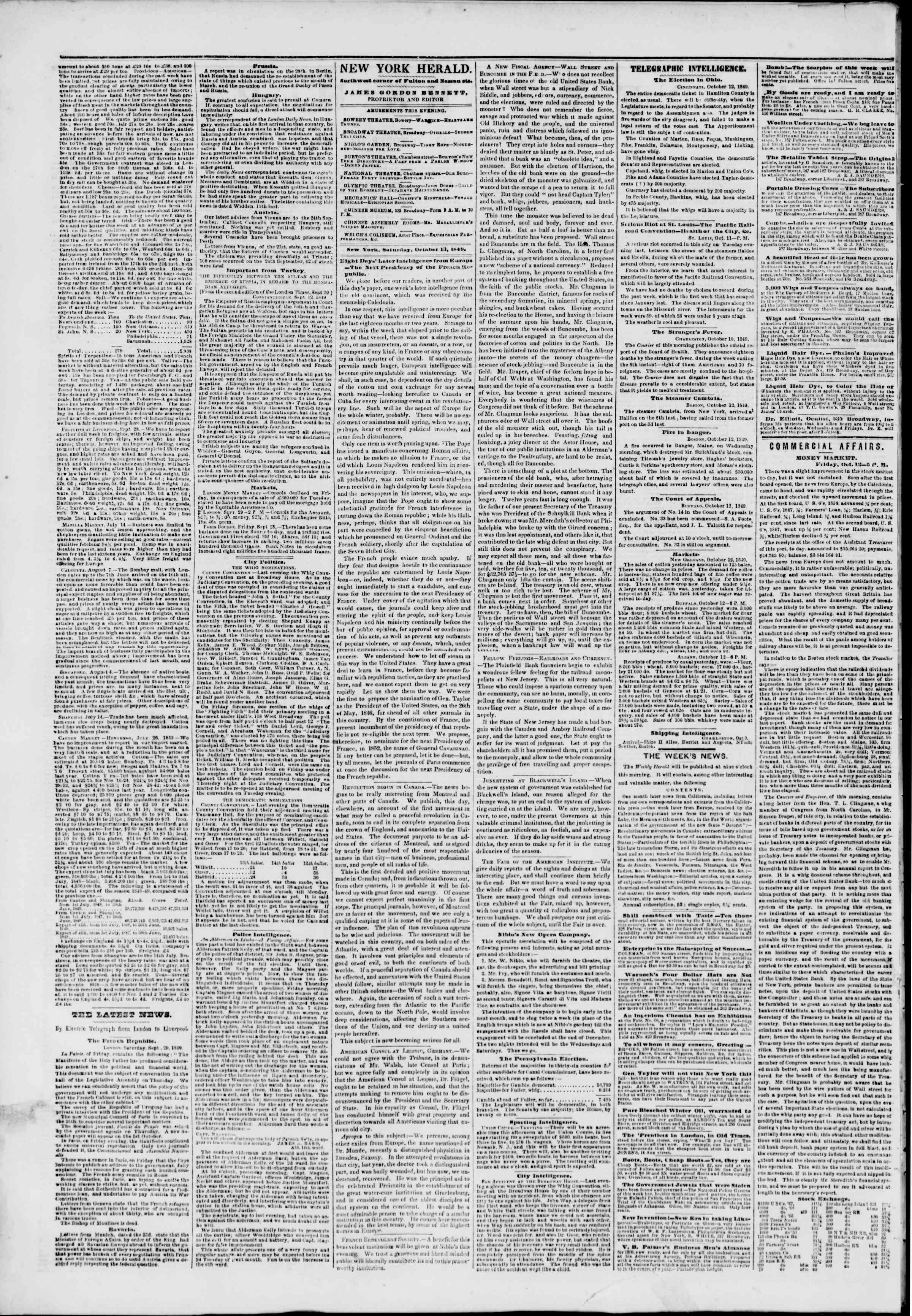 Newspaper of The New York Herald dated October 13, 1849 Page 2