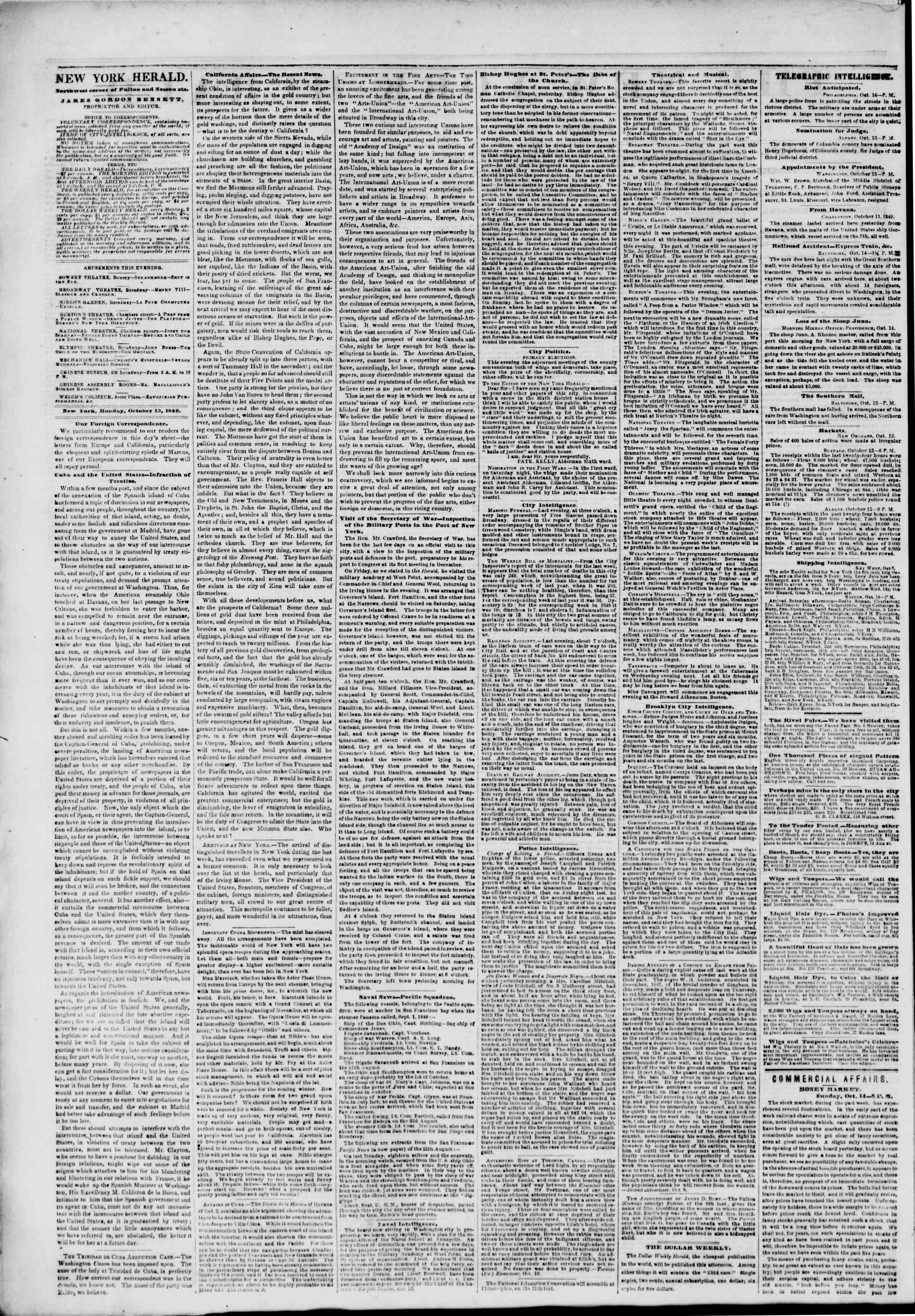 Newspaper of The New York Herald dated October 15, 1849 Page 2