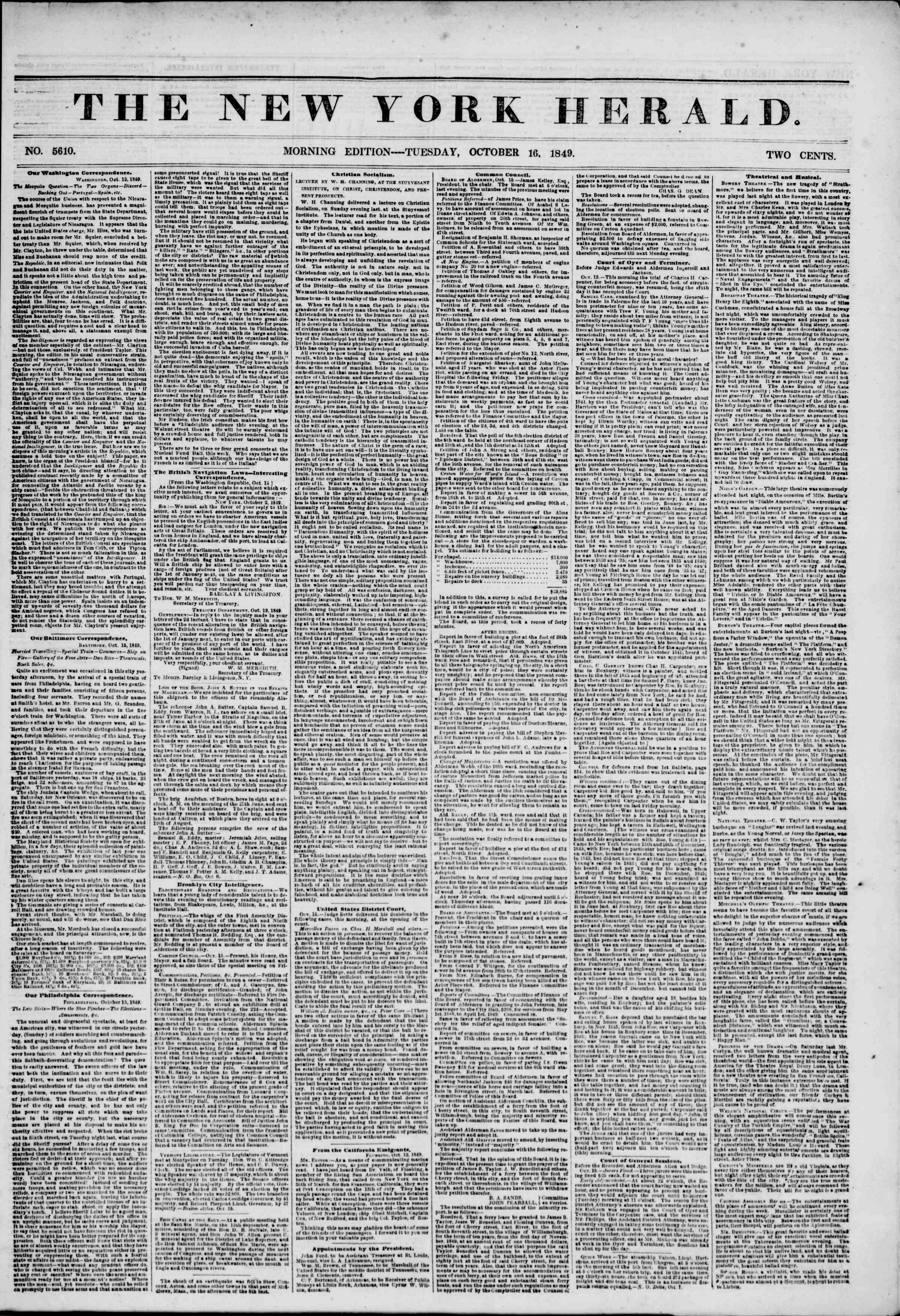 Newspaper of The New York Herald dated October 16, 1849 Page 1