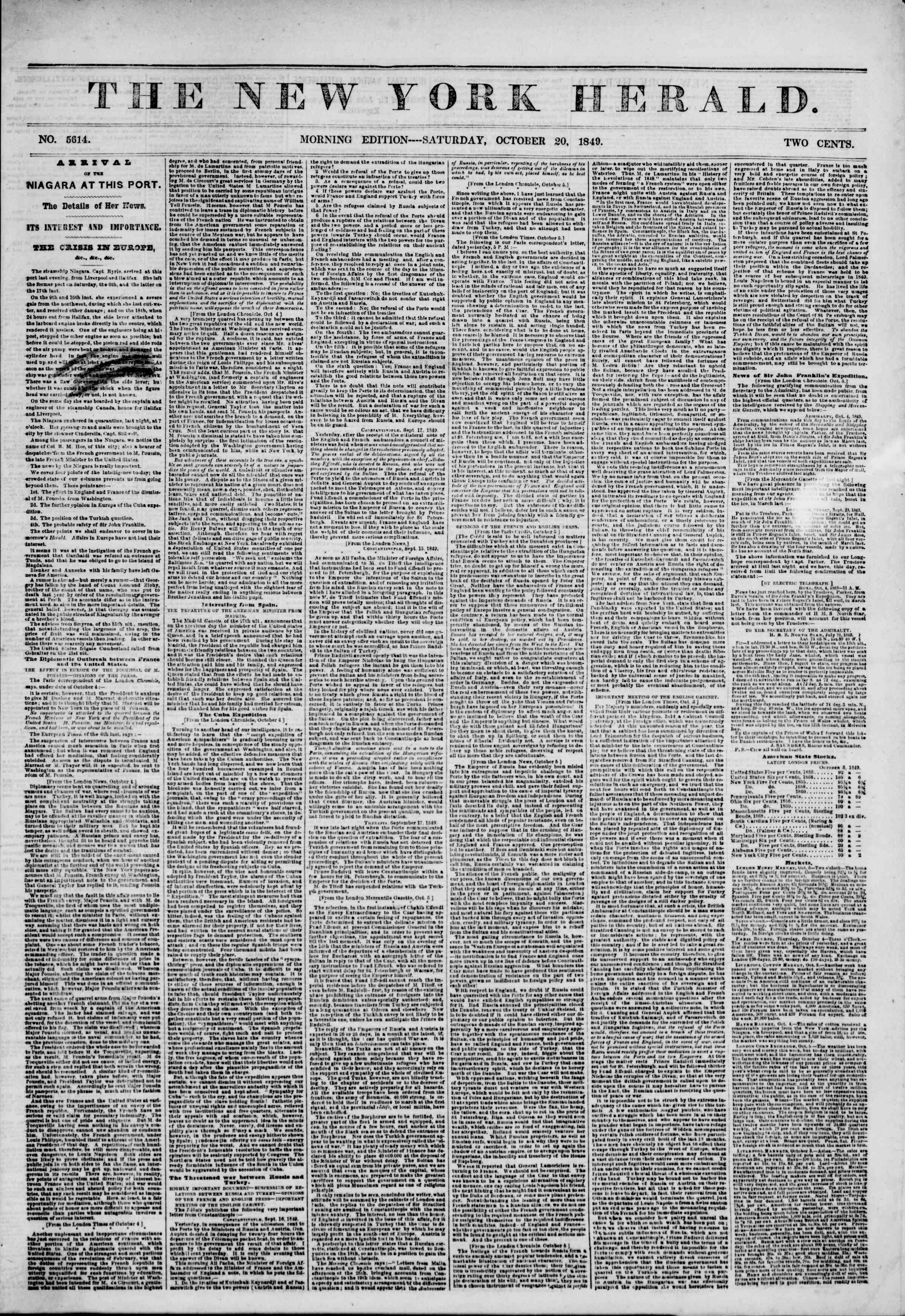 Newspaper of The New York Herald dated October 20, 1849 Page 1