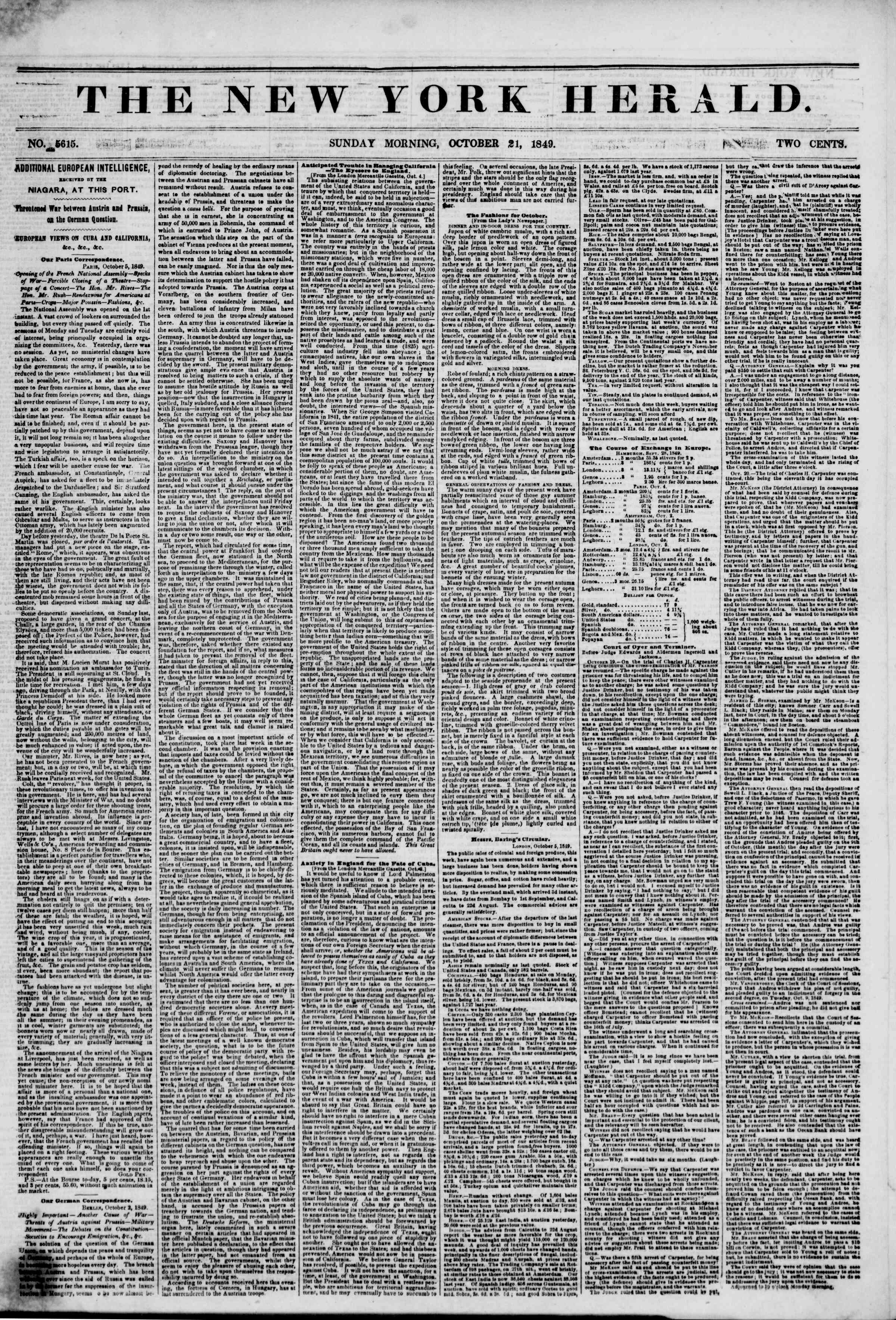 Newspaper of The New York Herald dated October 21, 1849 Page 1