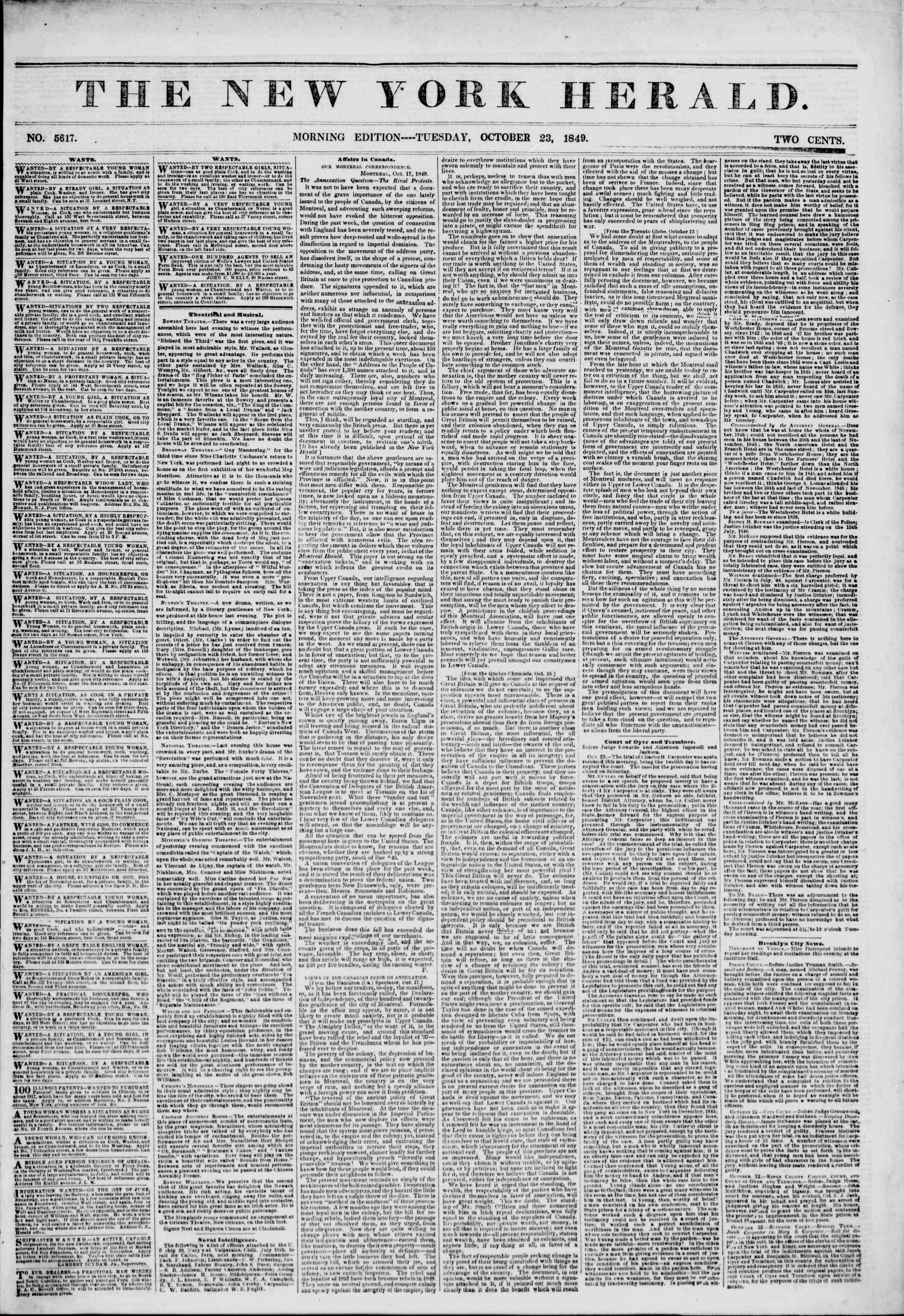 Newspaper of The New York Herald dated October 23, 1849 Page 1