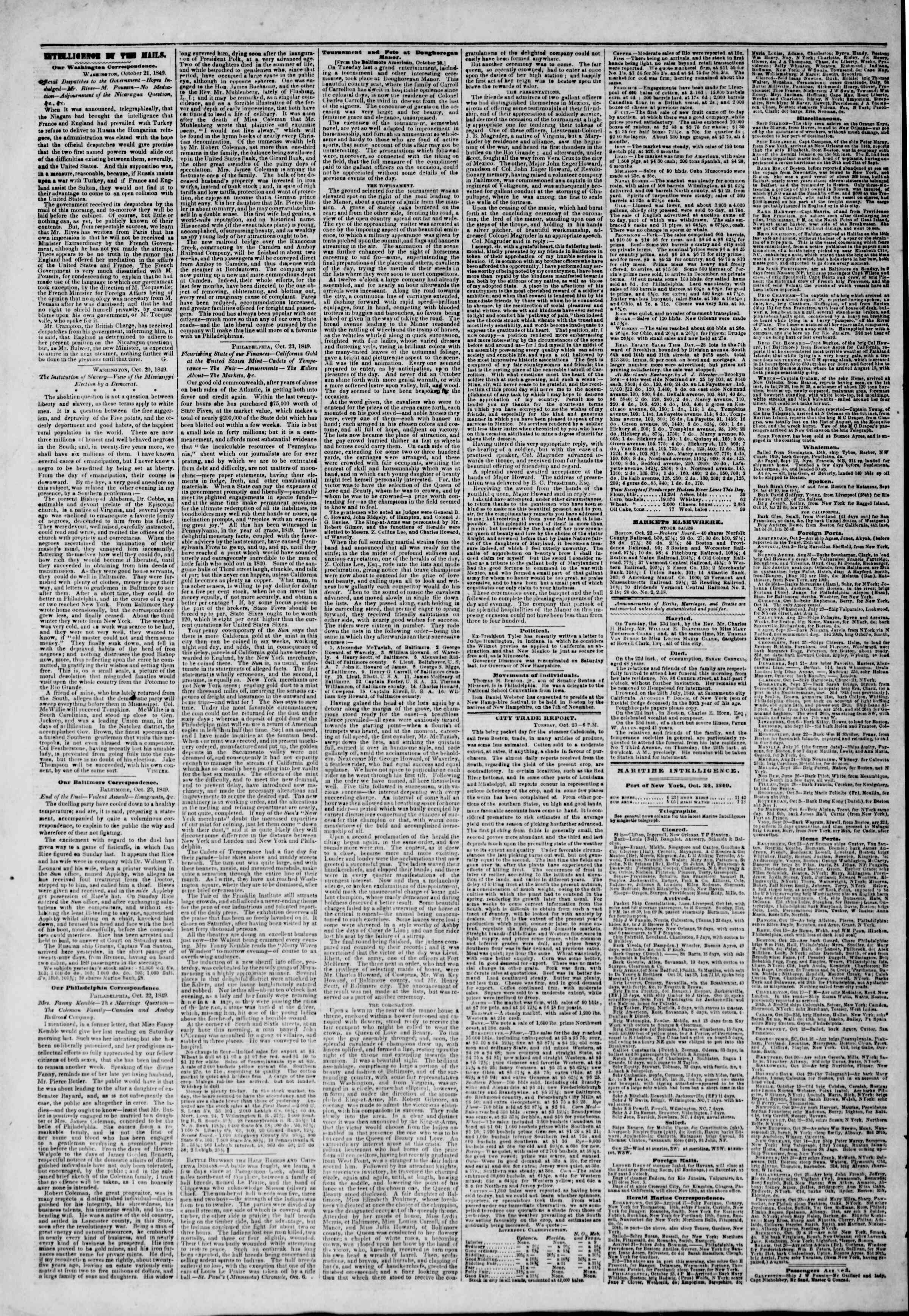Newspaper of The New York Herald dated October 24, 1849 Page 4