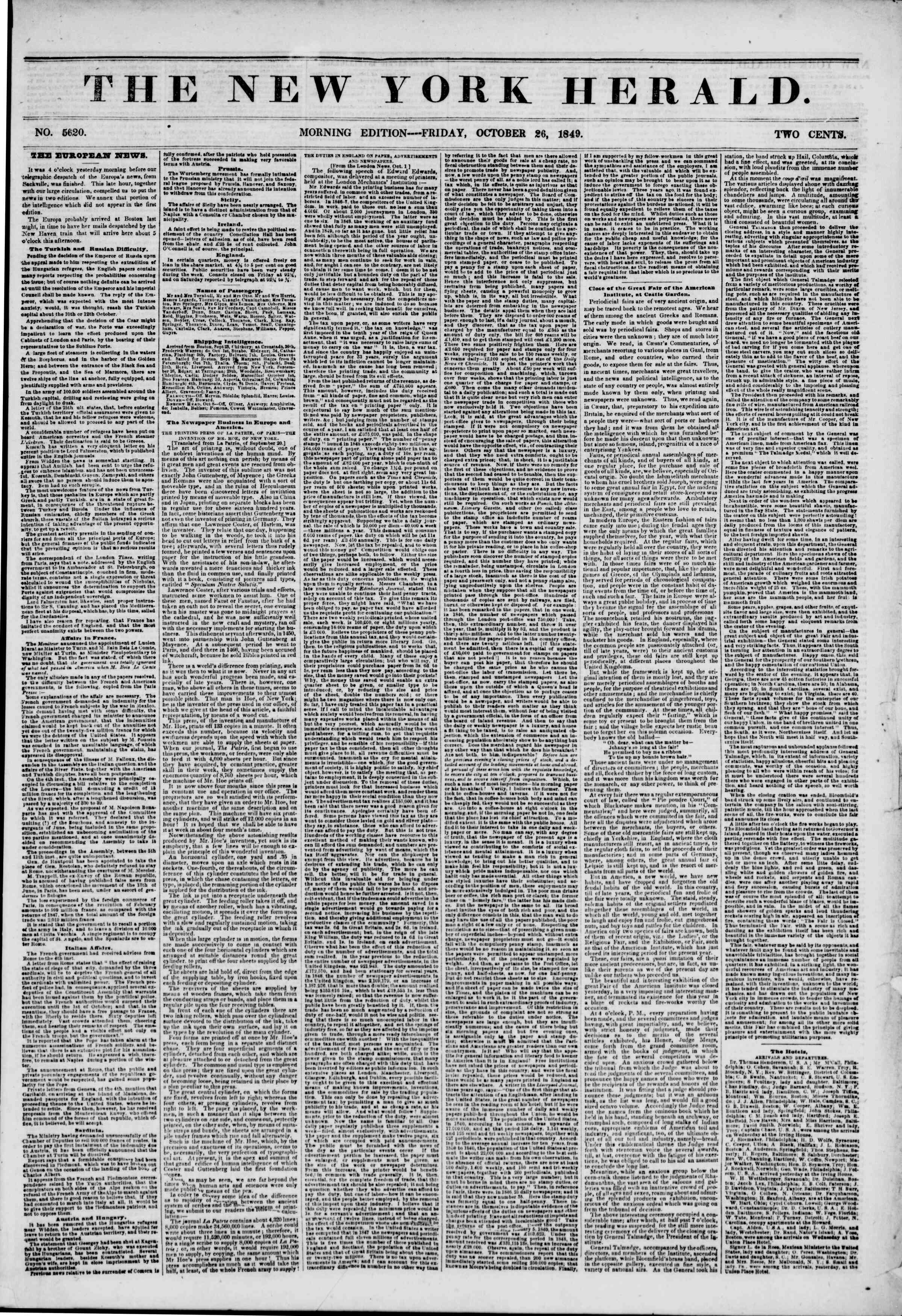 Newspaper of The New York Herald dated October 26, 1849 Page 1